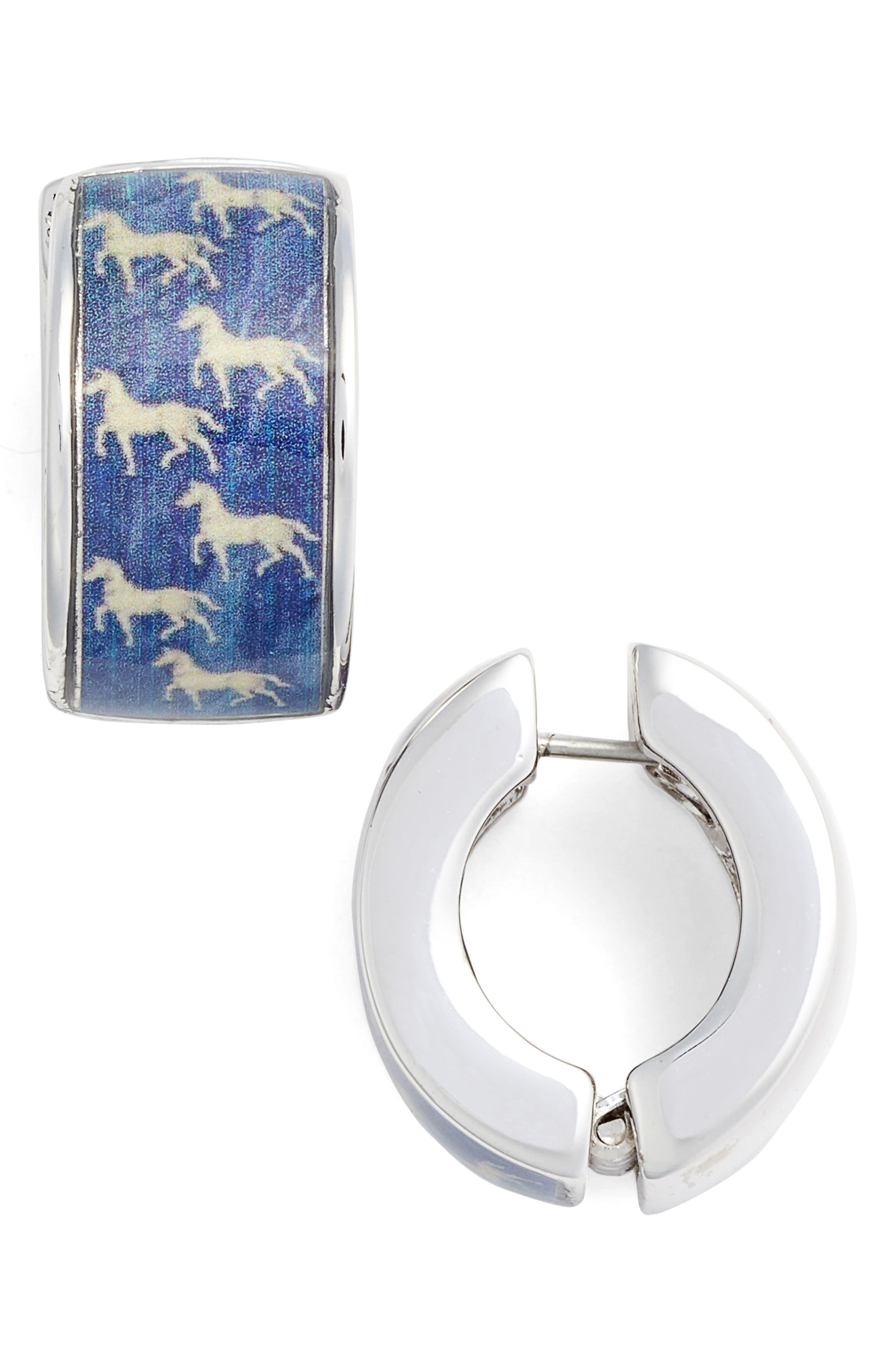 Blue Silvertone Blue Horse Earrings,                             Main thumbnail 1, color,                             Blue