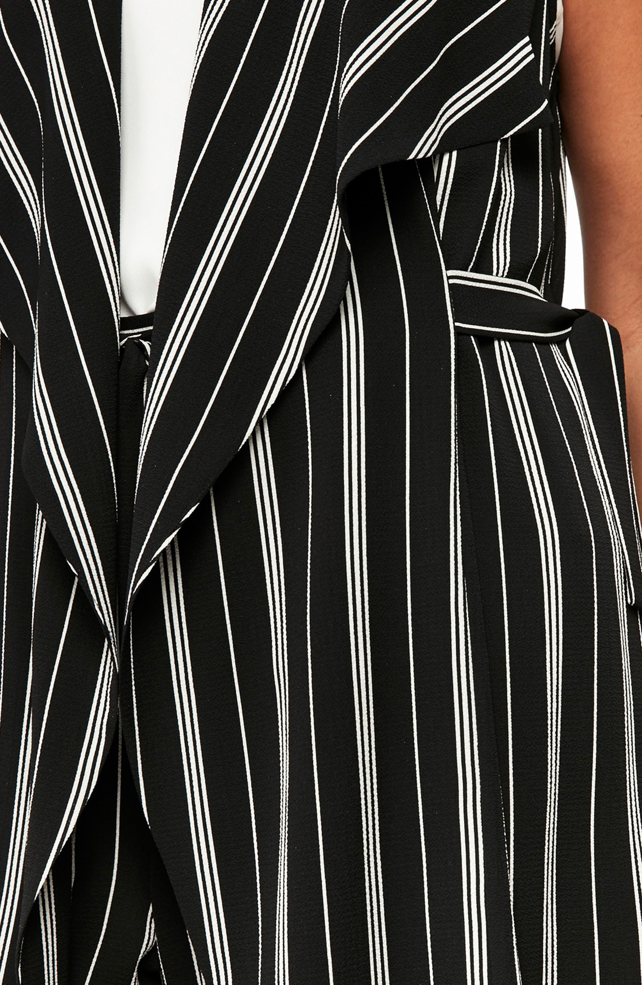 Stripe Sleeveless Jacket,                             Alternate thumbnail 3, color,                             Black/ White