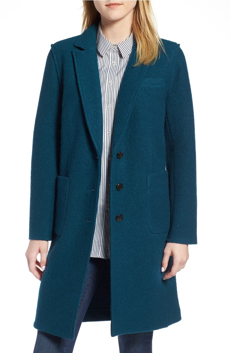 Olga Boiled Wool Topcoat,                         Main,                         color, Winter Pine