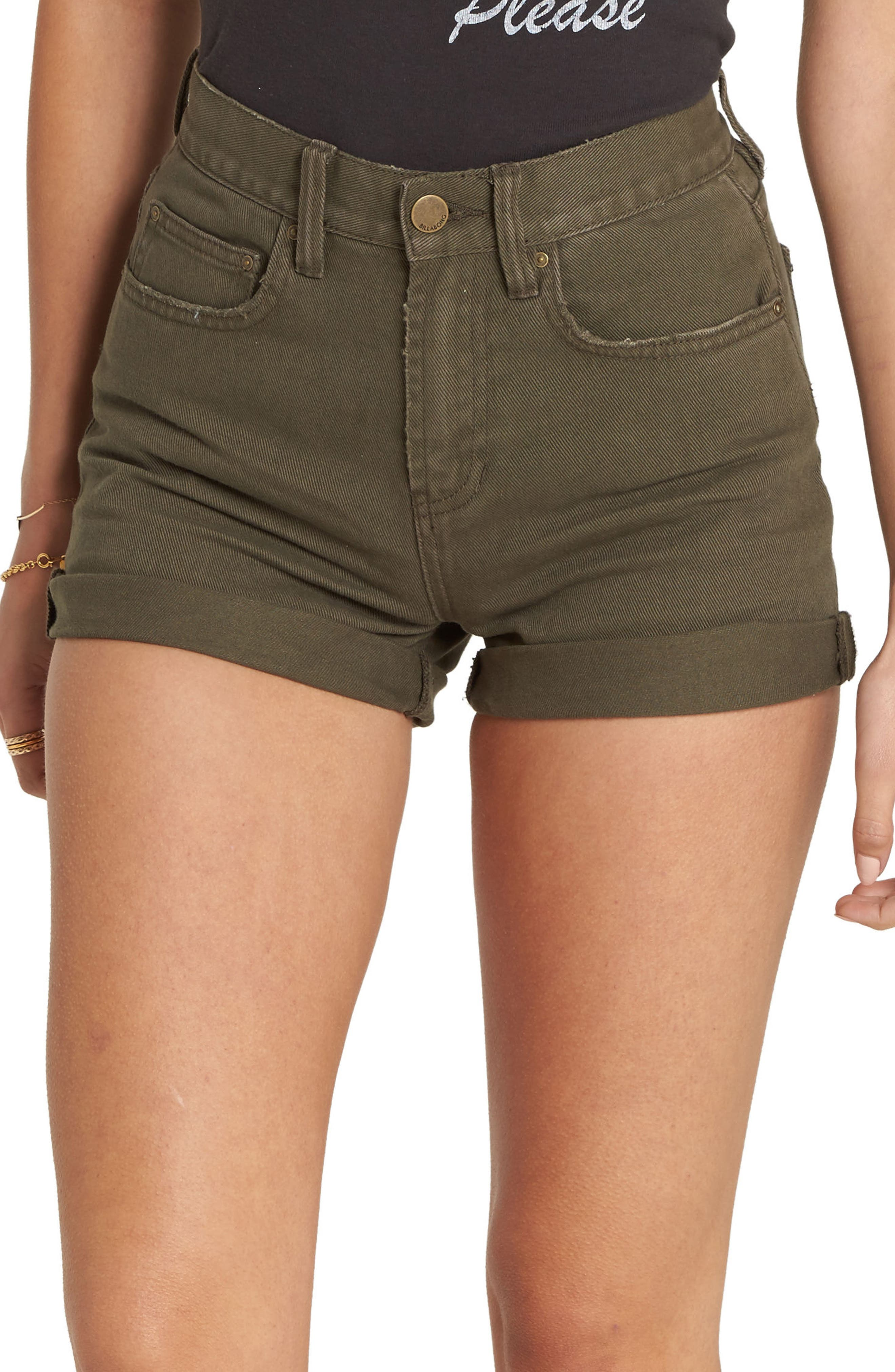 High Tide Denim Shorts,                             Main thumbnail 1, color,                             Olive