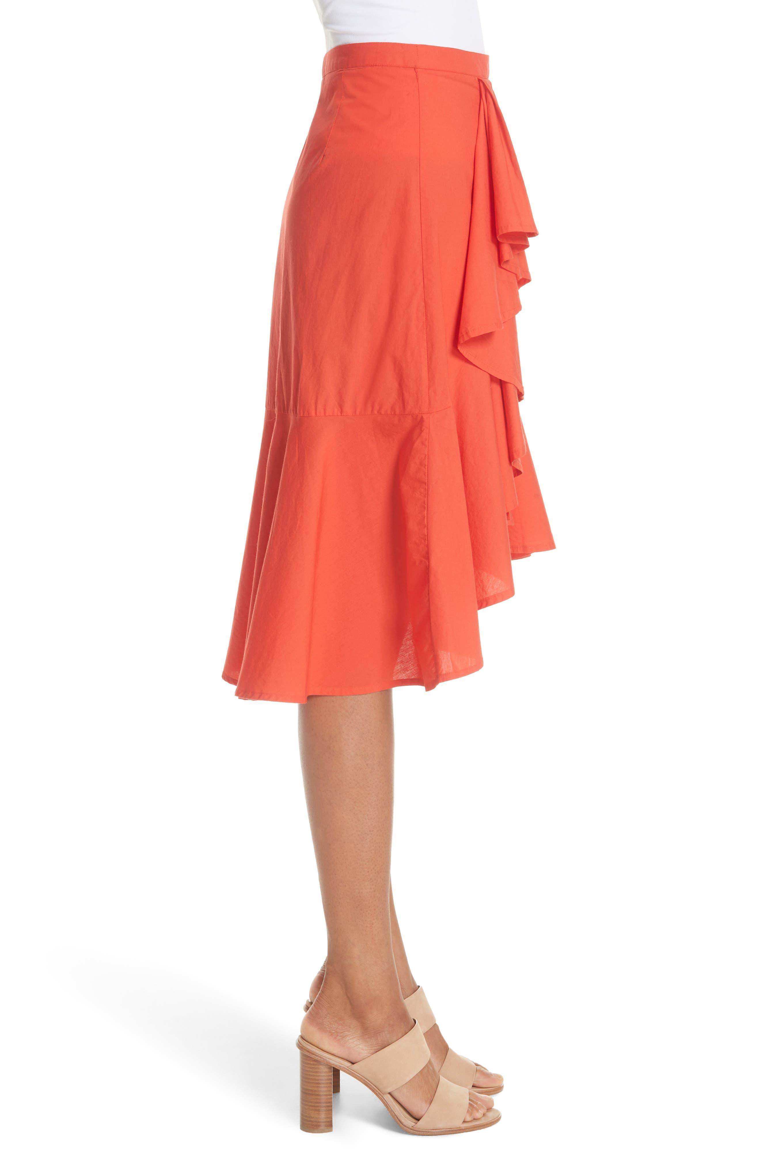 Chesmu Ruffled Cotton Skirt,                             Alternate thumbnail 3, color,                             Salsa