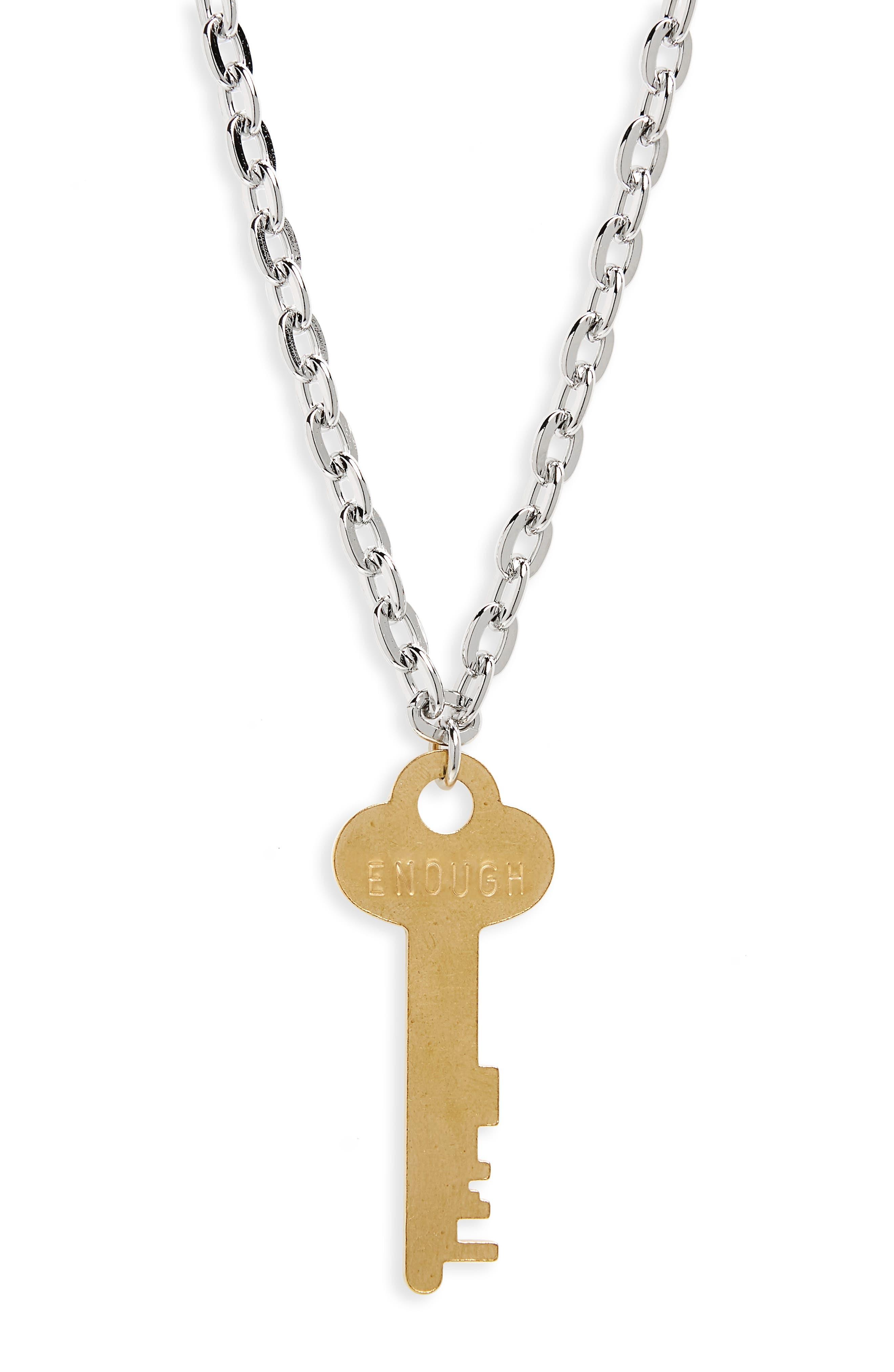 I Am Enough Key Charm Necklace,                             Alternate thumbnail 3, color,                             Silver/ Gold Key