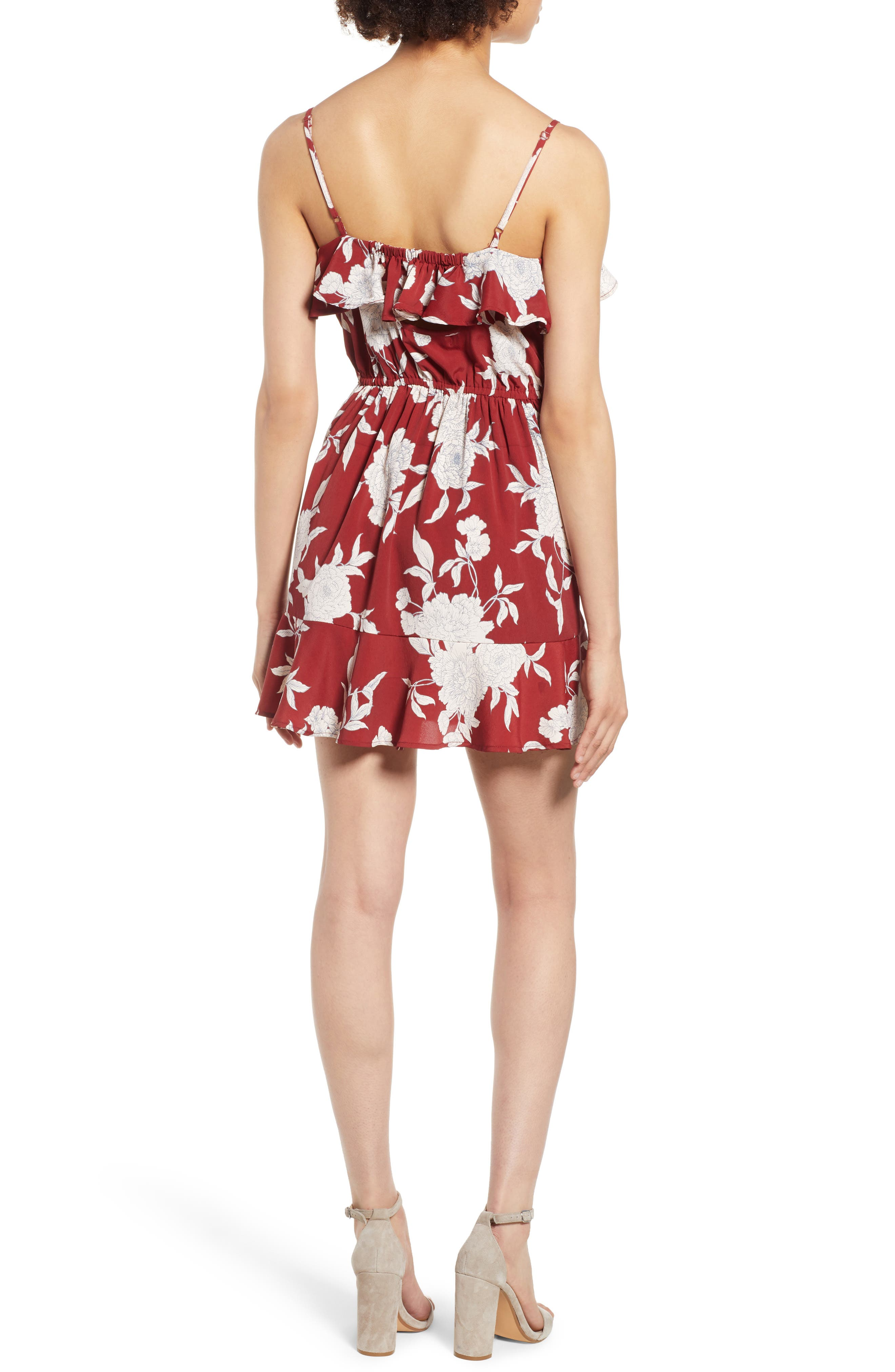 Floral Print Ruffle Dress,                             Alternate thumbnail 2, color,                             Red Ground Floral