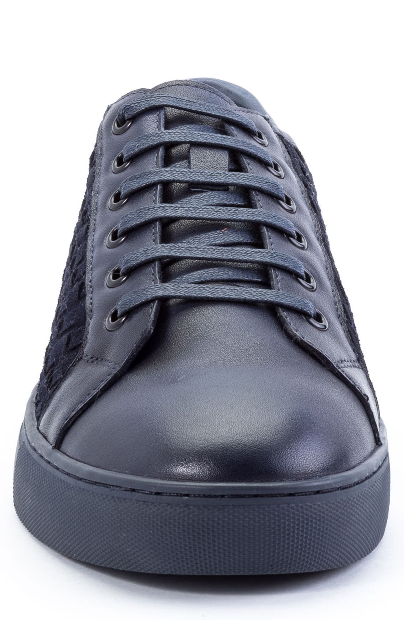 Player Woven Low Top Sneaker,                             Alternate thumbnail 4, color,                             Navy Leather/ Suede
