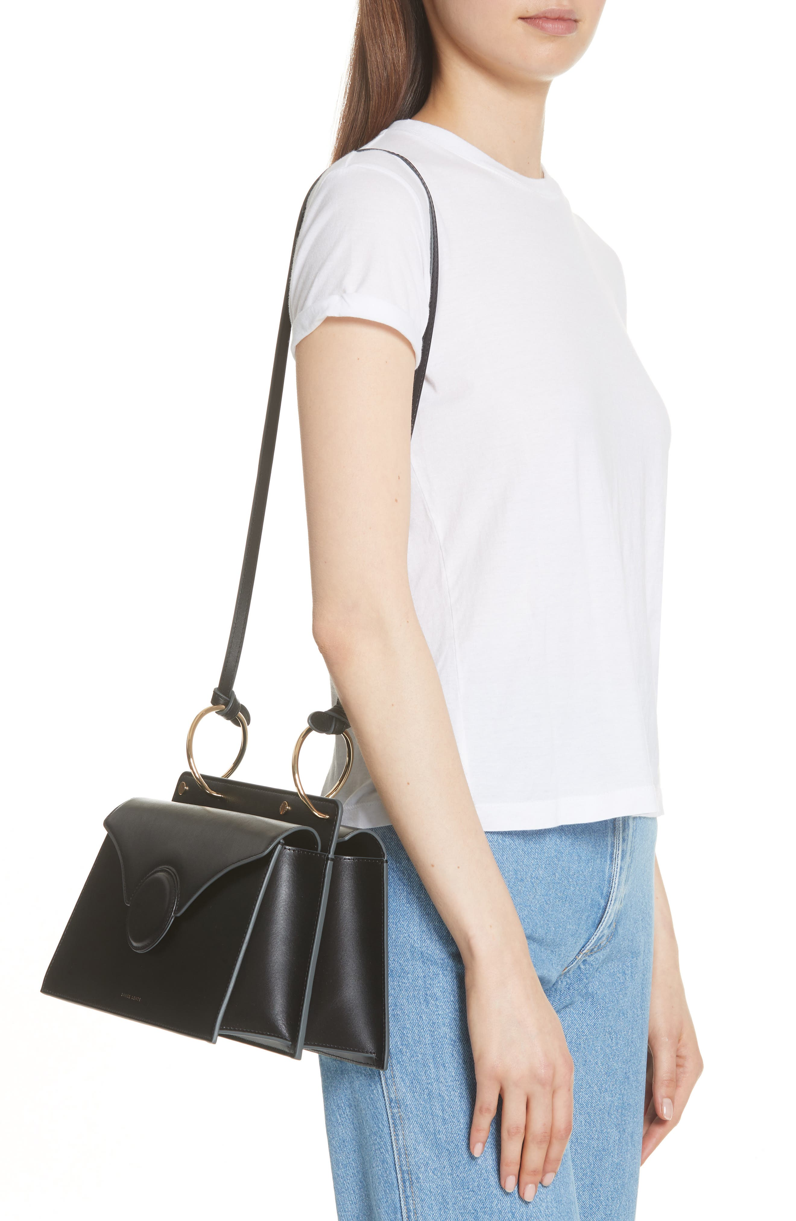 Phoebe Leather Crossbody Bag,                             Alternate thumbnail 2, color,                             Black
