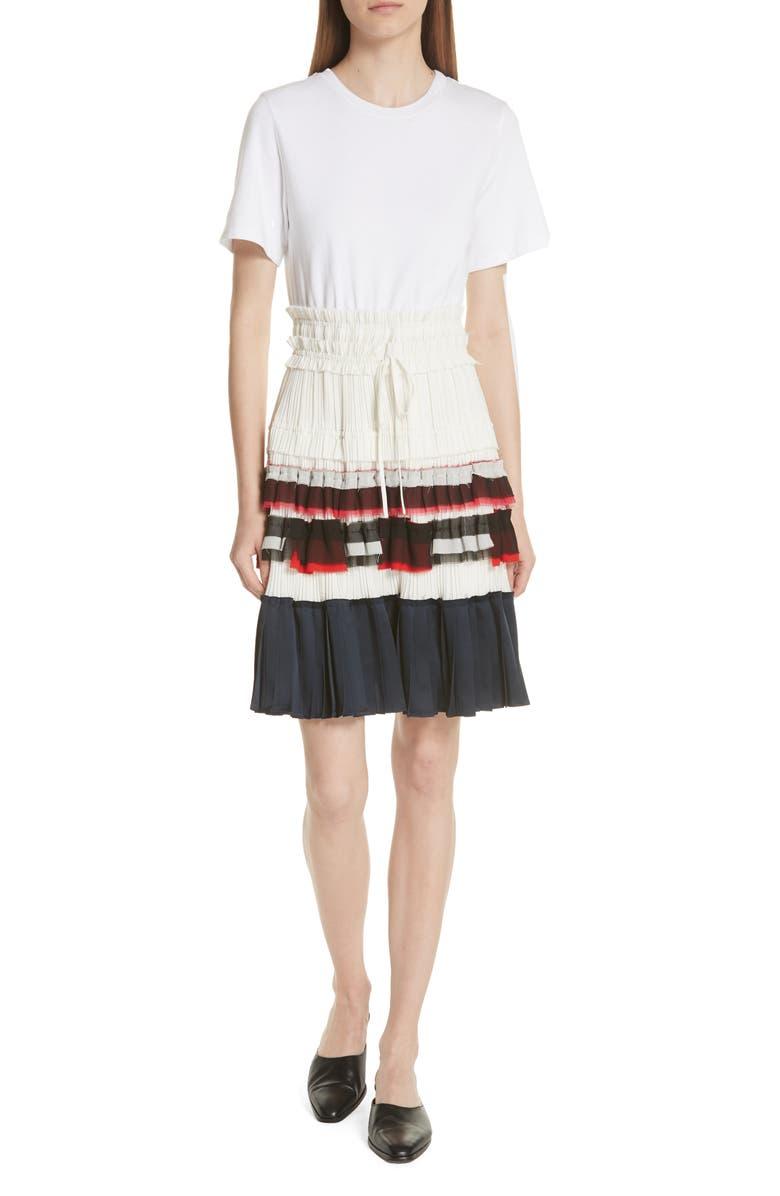 Pleated Skirt T-Shirt Dress