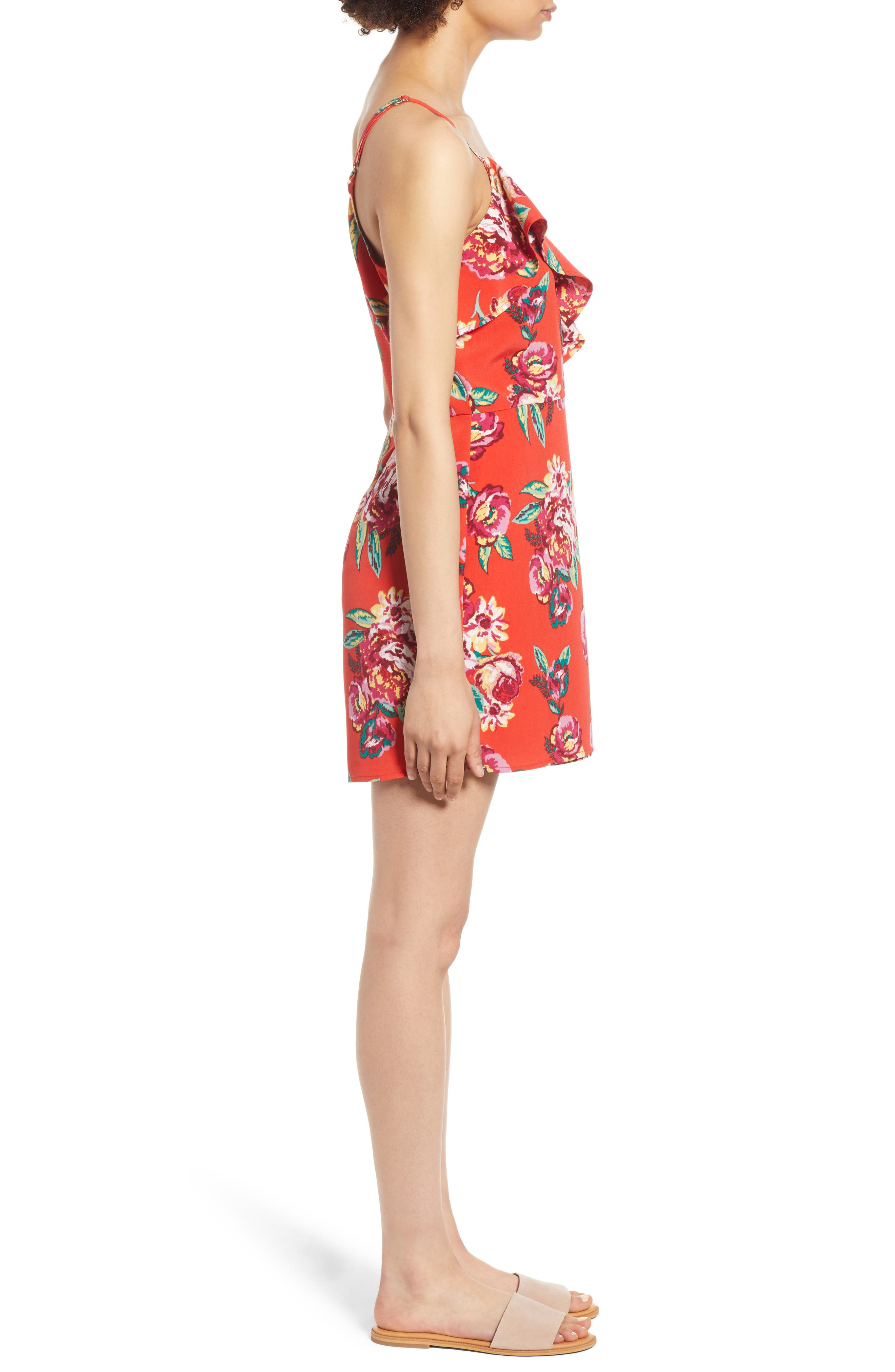 Floral Wrap Style Romper,                             Alternate thumbnail 3, color,                             Red Lipstick Summer Floral