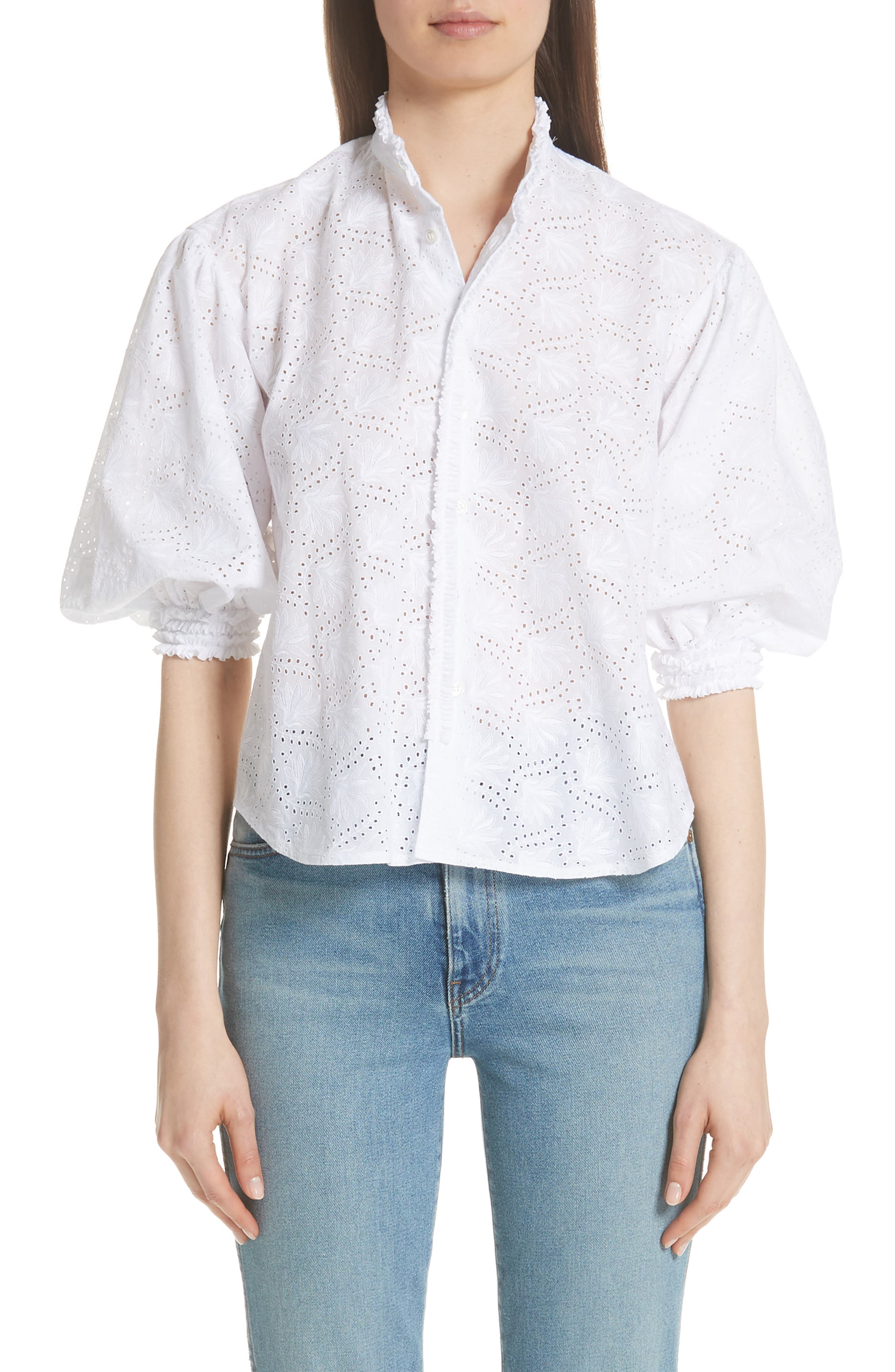 HIGH NECK EYELET BLOUSE