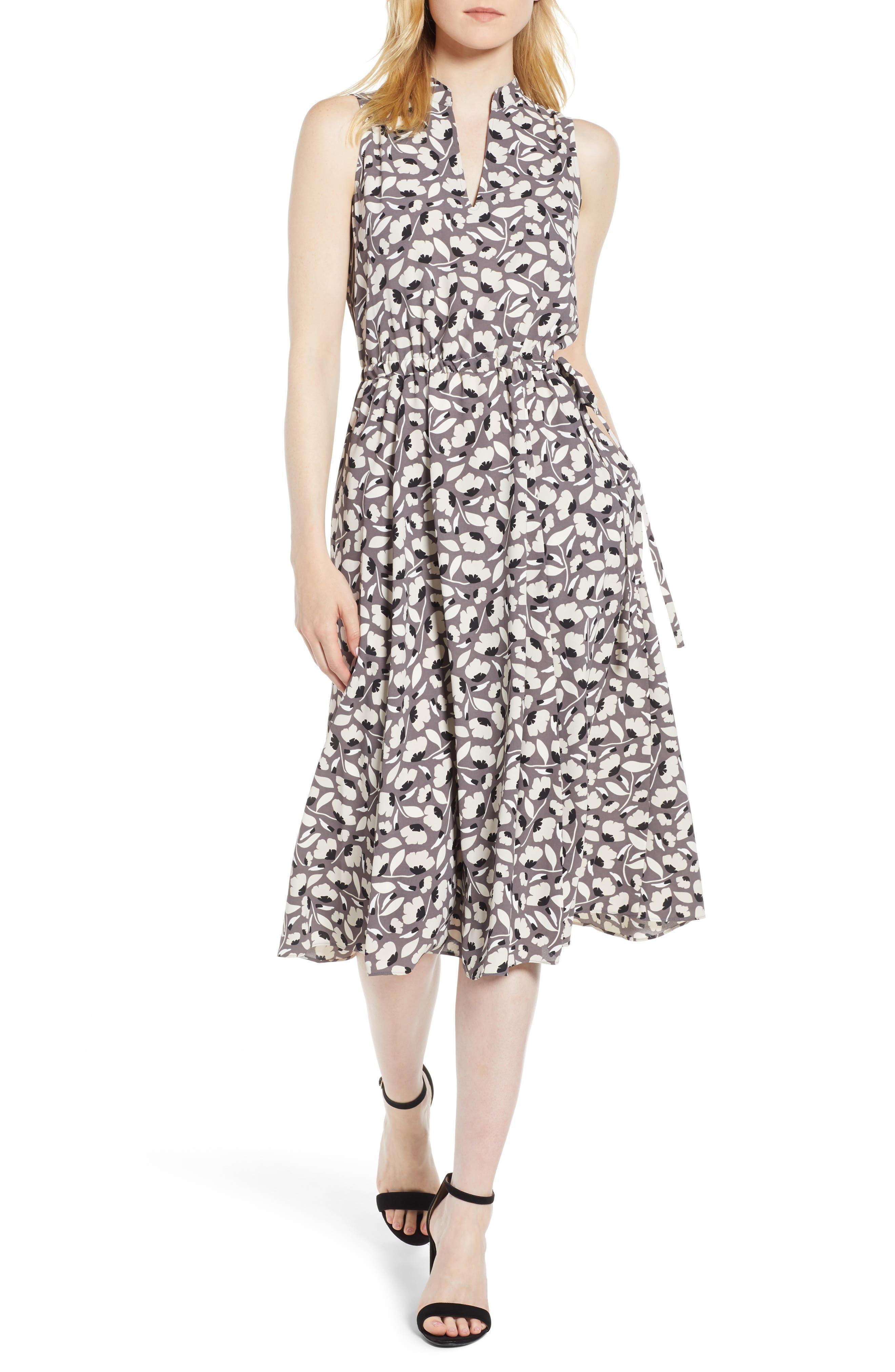 Floral Drawstring Dress,                         Main,                         color, Nantucket Grey/ Oyster Shell