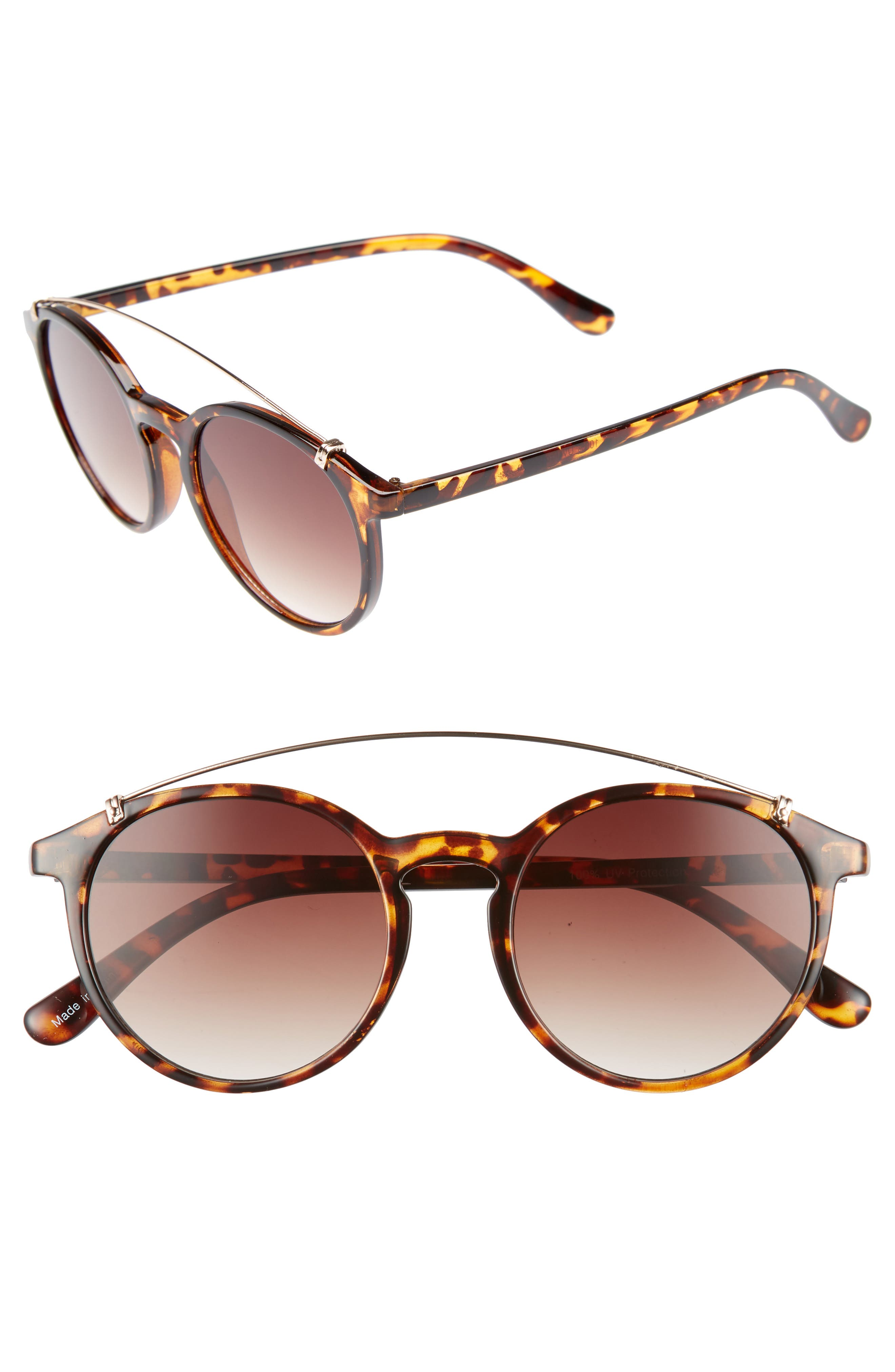 Round Aviator Sunglasses,                             Main thumbnail 1, color,                             Tort/ Brown