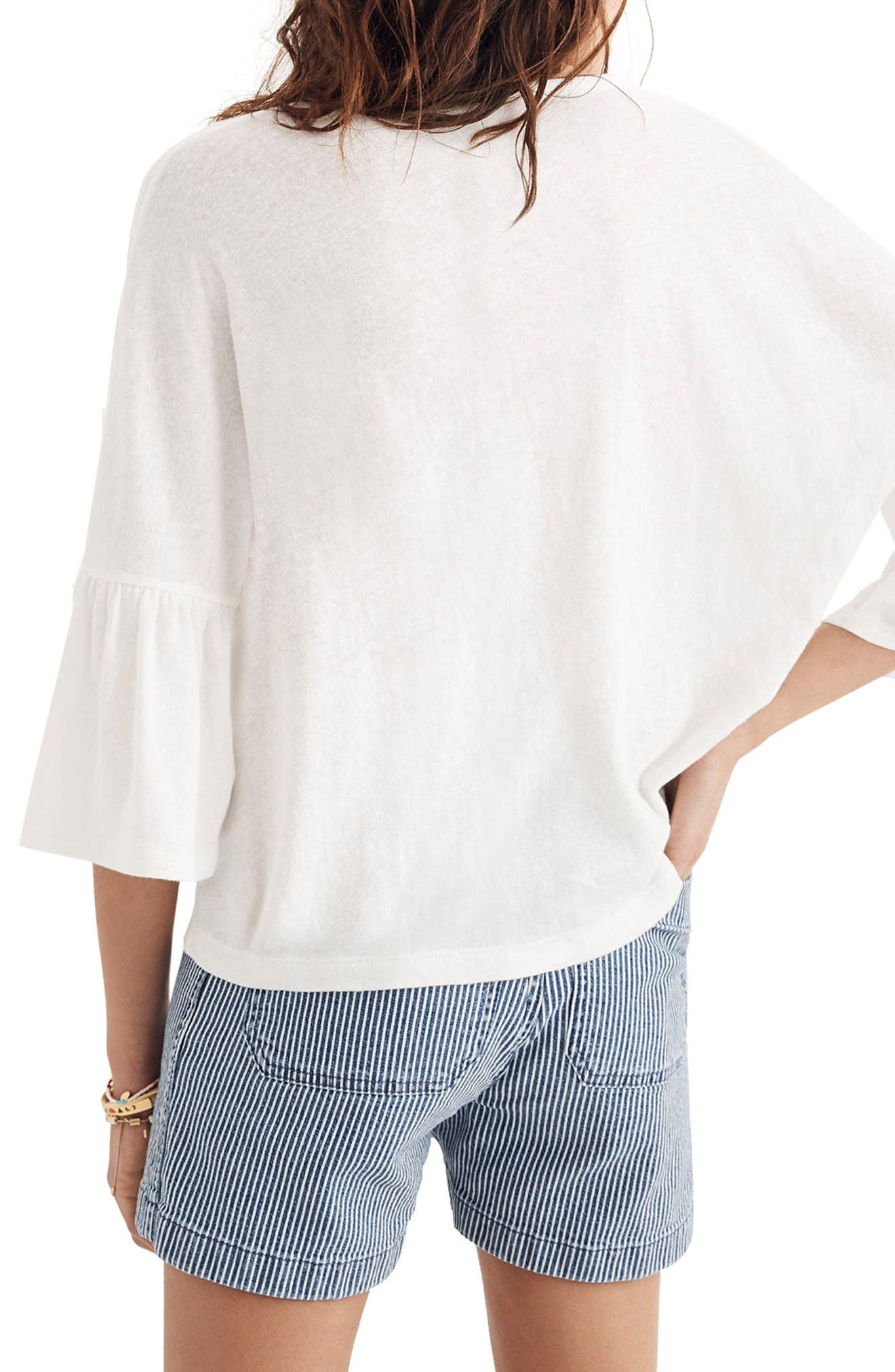 Flare Sleeve Tee,                             Alternate thumbnail 2, color,                             Bright Ivory