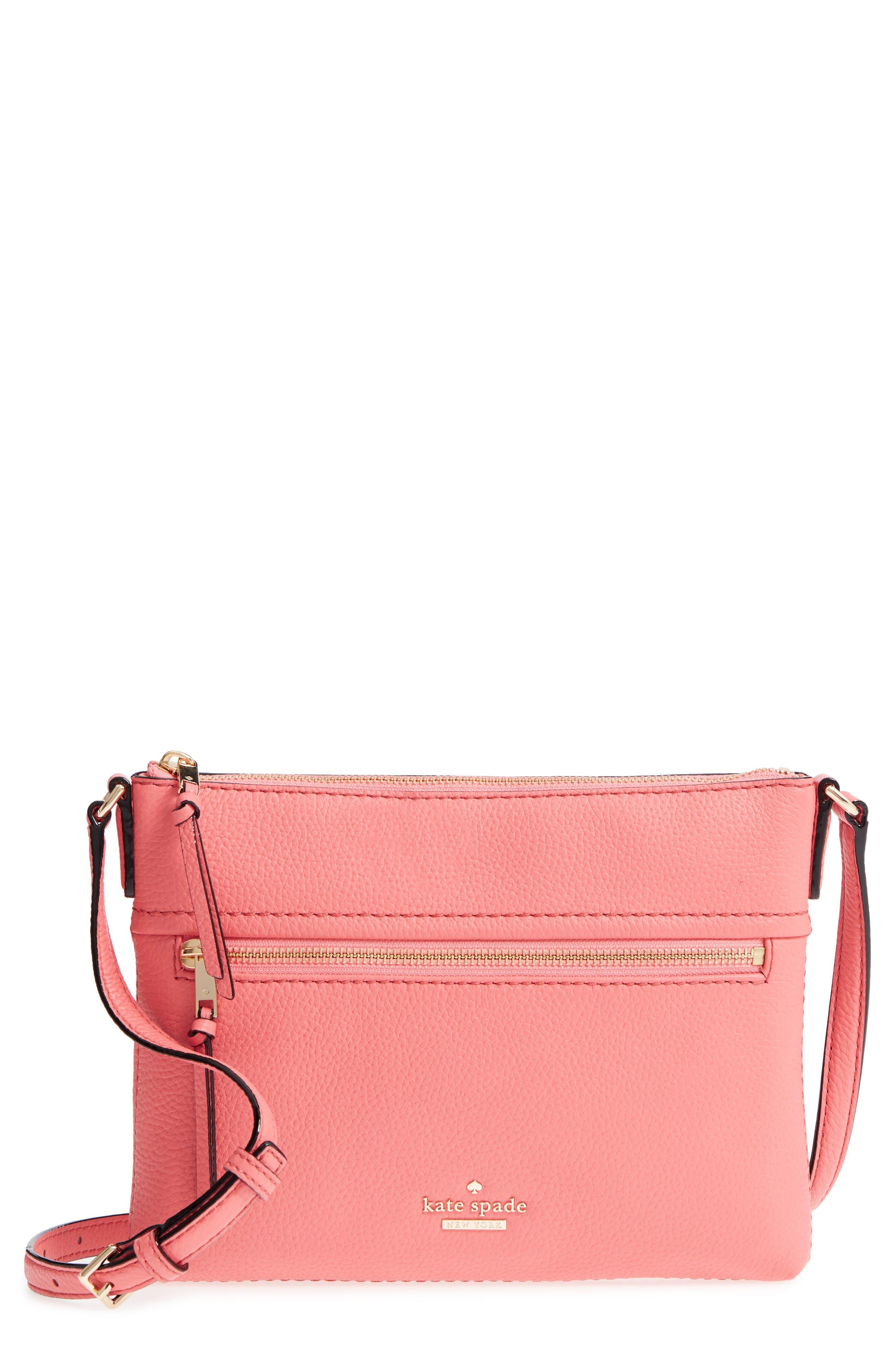 jackson street - gabriele leather crossbody bag,                             Main thumbnail 1, color,                             Coral Pebble