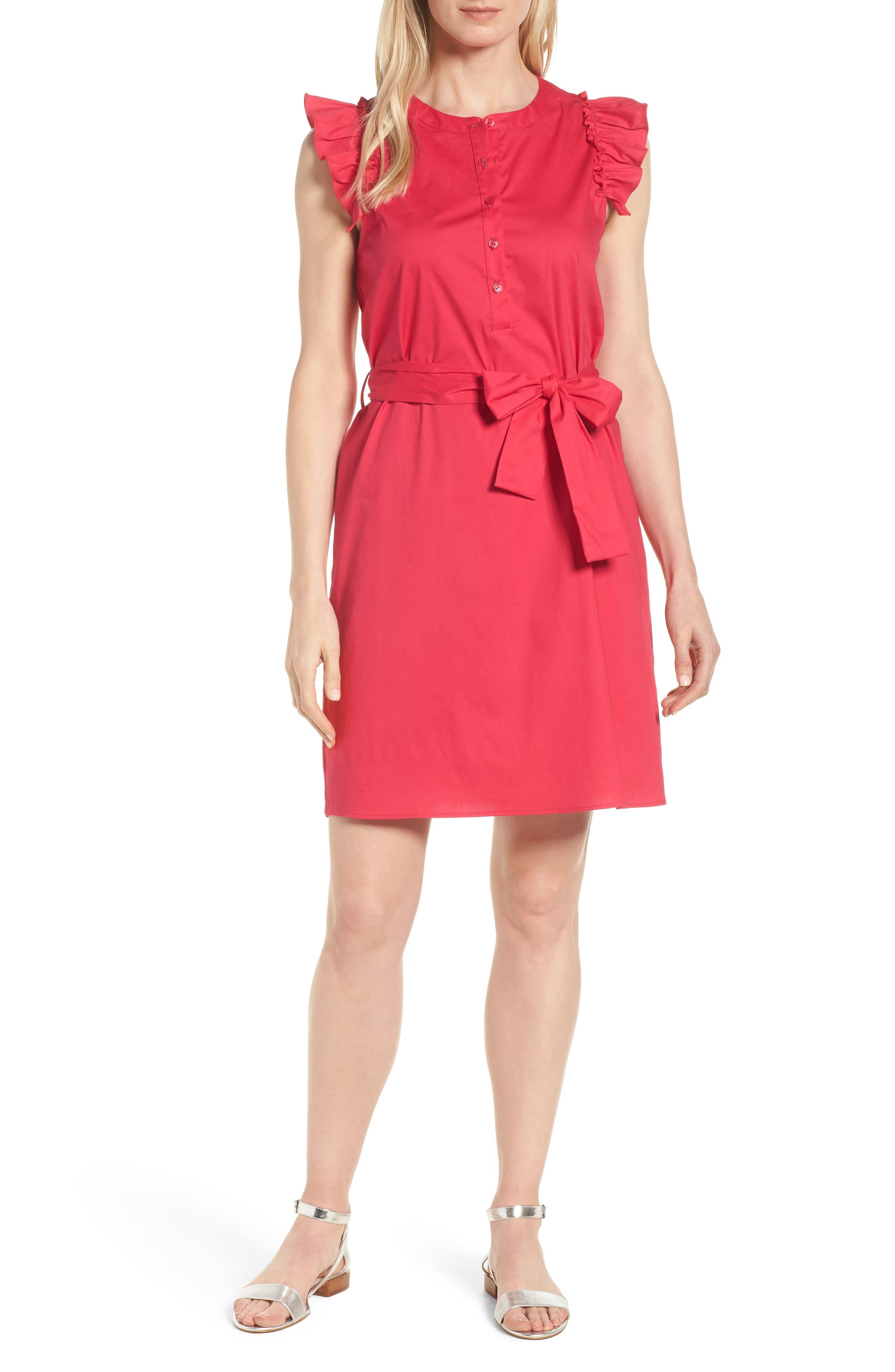 x Hi Sugarplum! Flamenco Ruffle Trim Dress,                         Main,                         color, Hot Pink