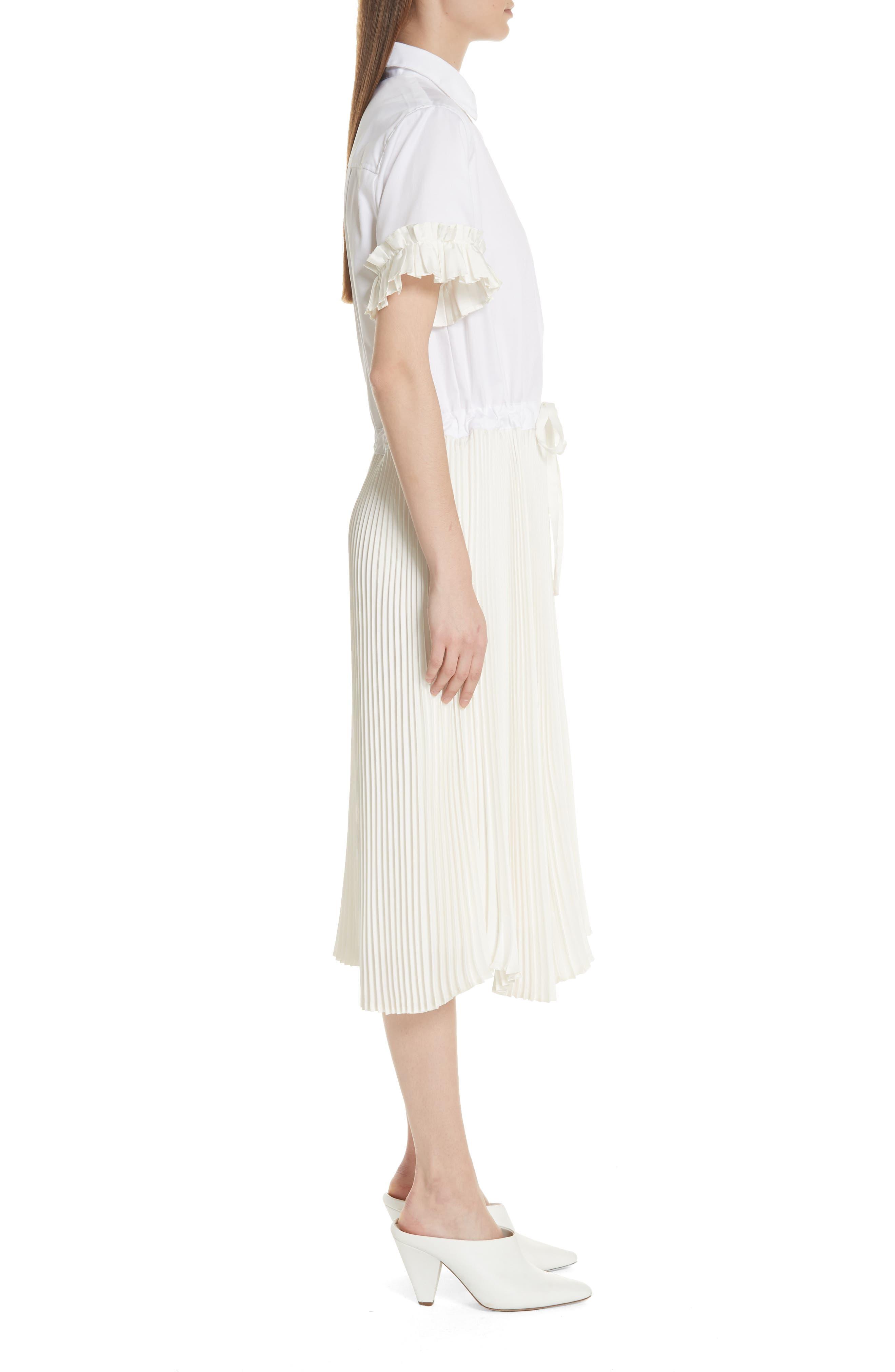 Pleat Midi Shirtdress,                             Alternate thumbnail 5, color,                             White