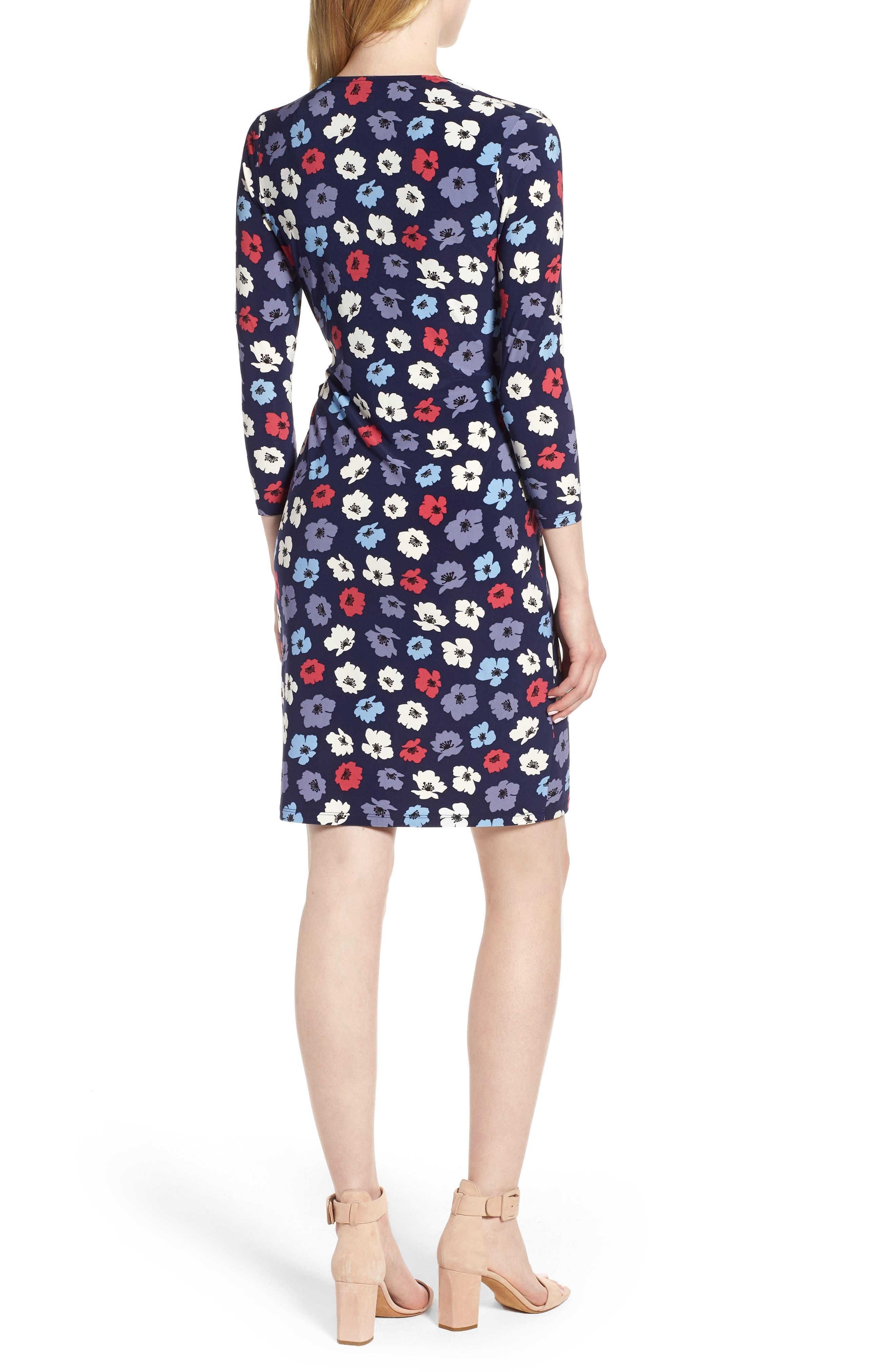 Floral Faux Wrap Dress,                             Alternate thumbnail 2, color,                             Eclipse/ Breton Red Combo