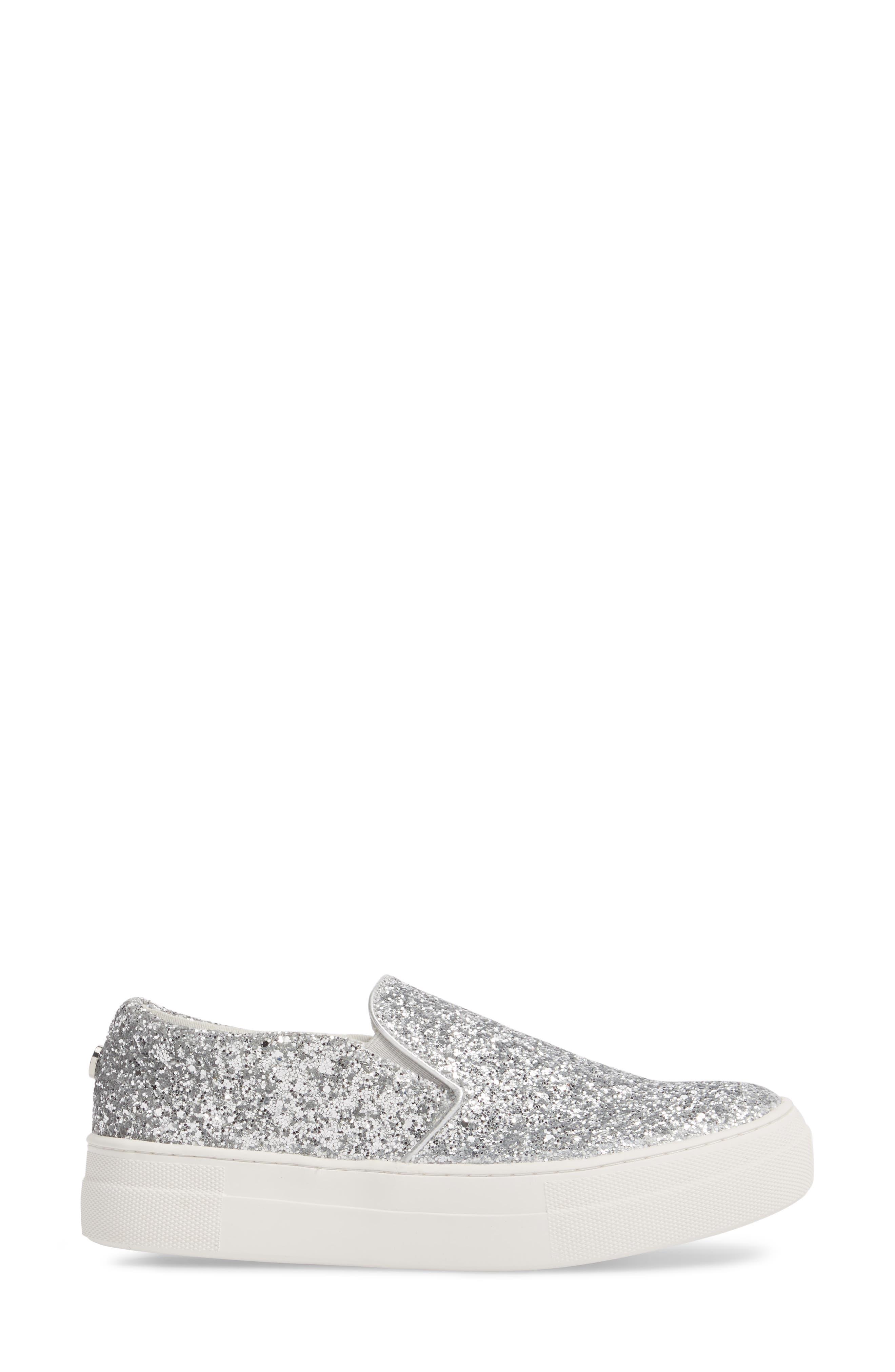 Gills Platform Slip-On Sneaker,                             Alternate thumbnail 3, color,                             Silver Glitter
