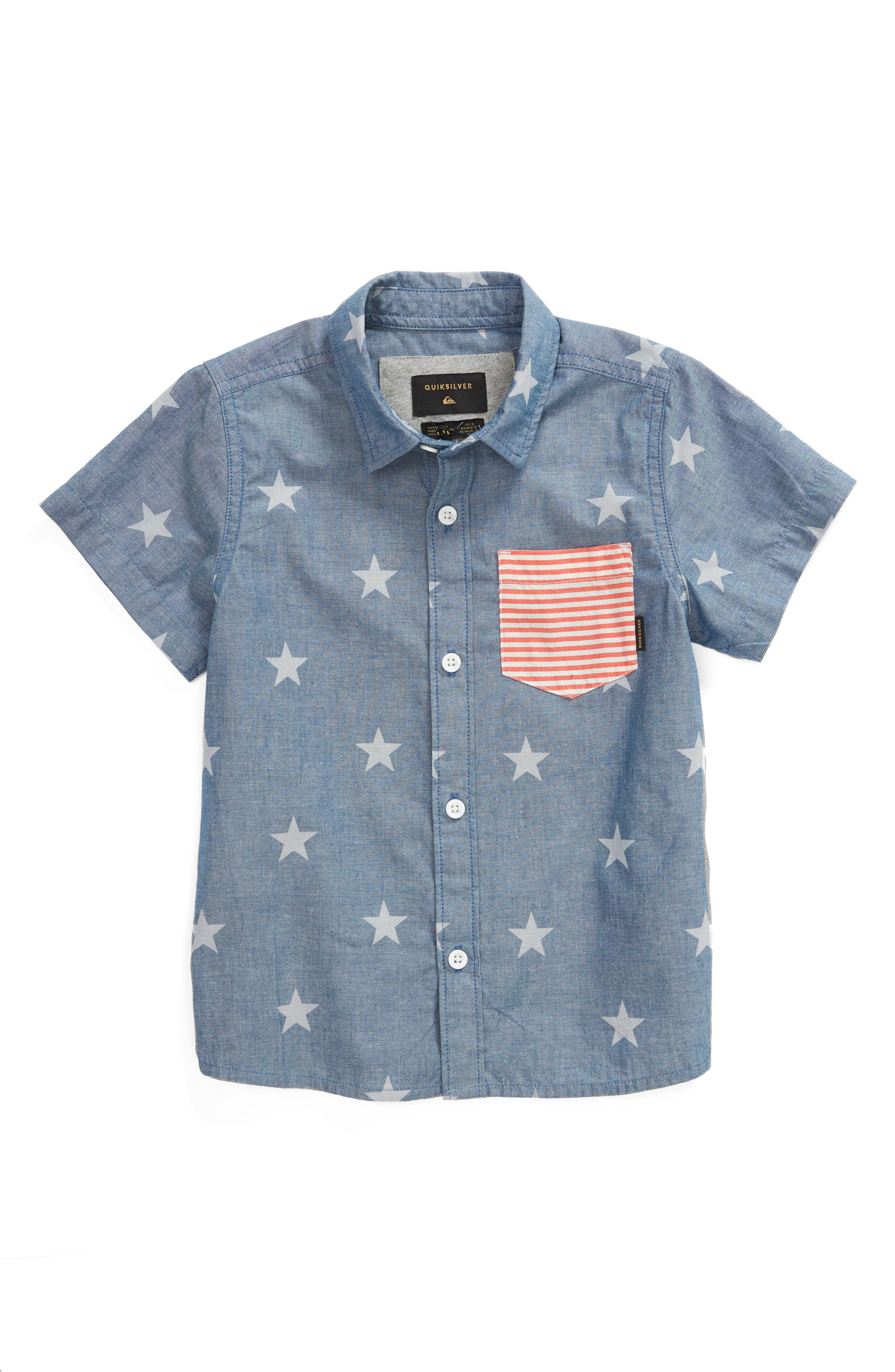 4th of July Woven Shirt,                         Main,                         color, Used Blue
