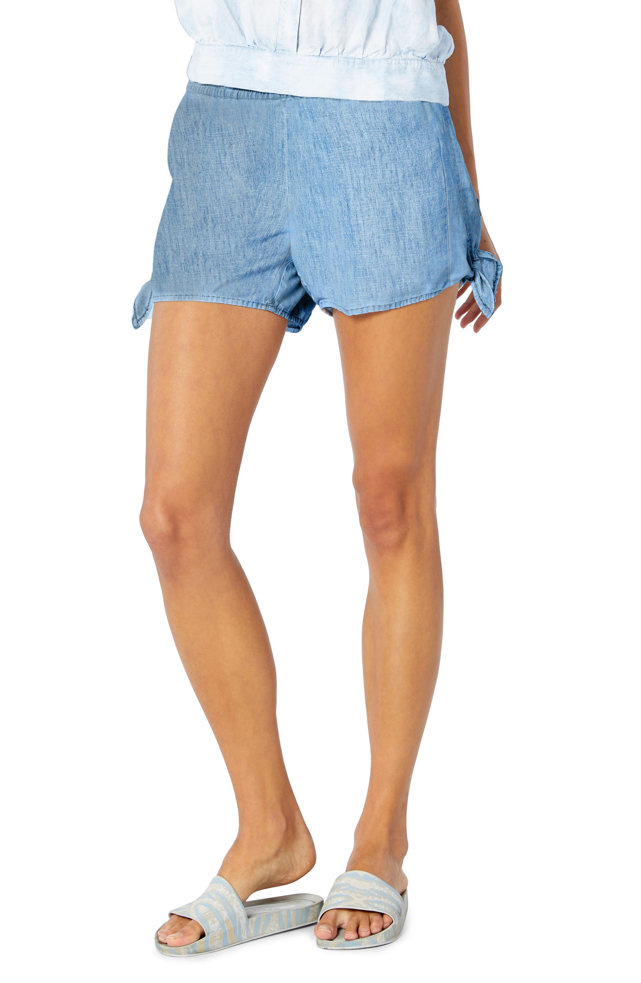 Side Tie Shorts,                         Main,                         color, Marina