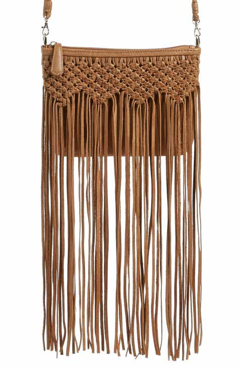 Ten79la Fringe Woven Calfskin Leather Crossbody Bag