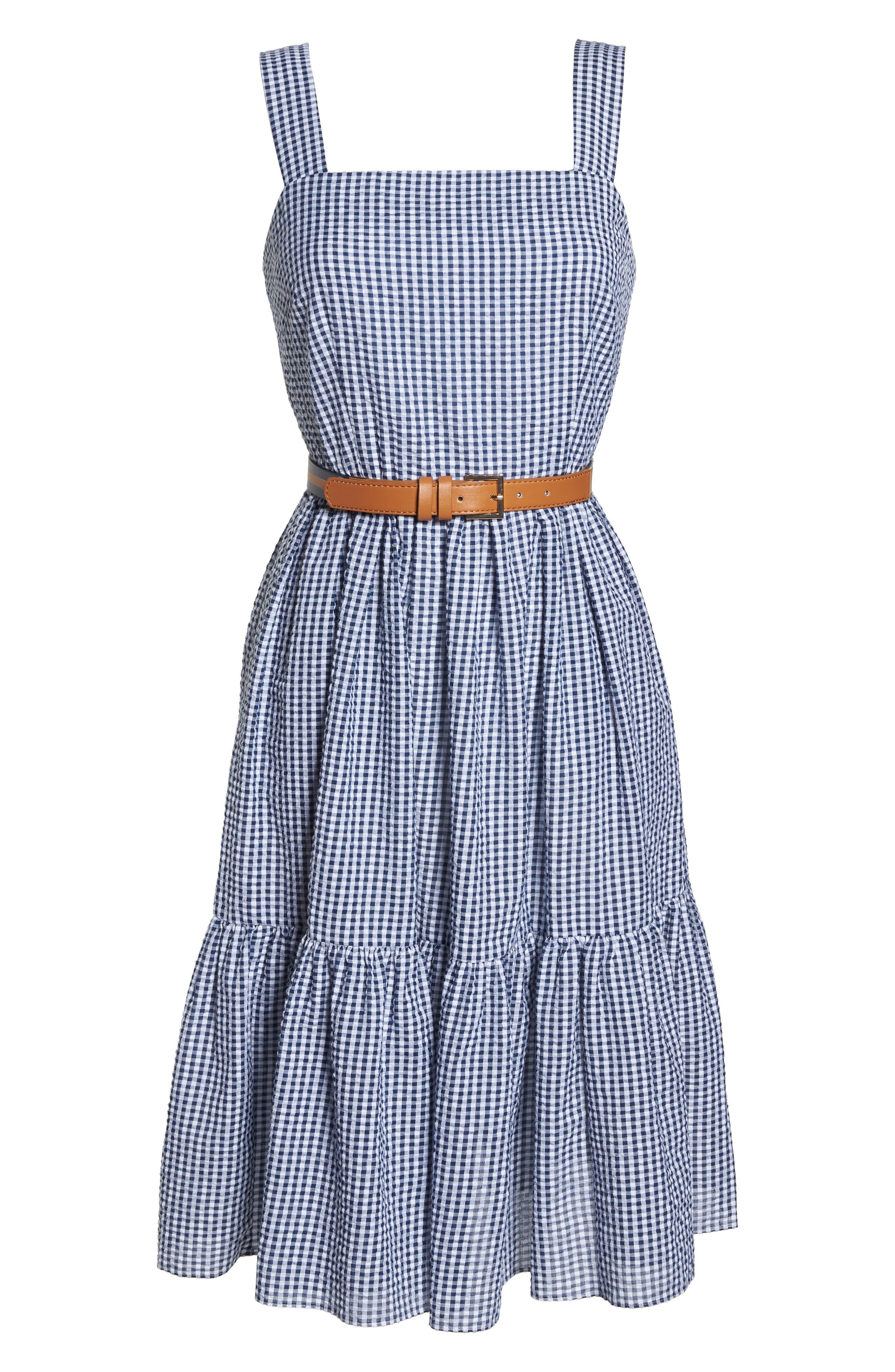 Ruffle Hem Seersucker Check Fit & Flare Dress,                             Alternate thumbnail 7, color,                             Navy/ Ivory