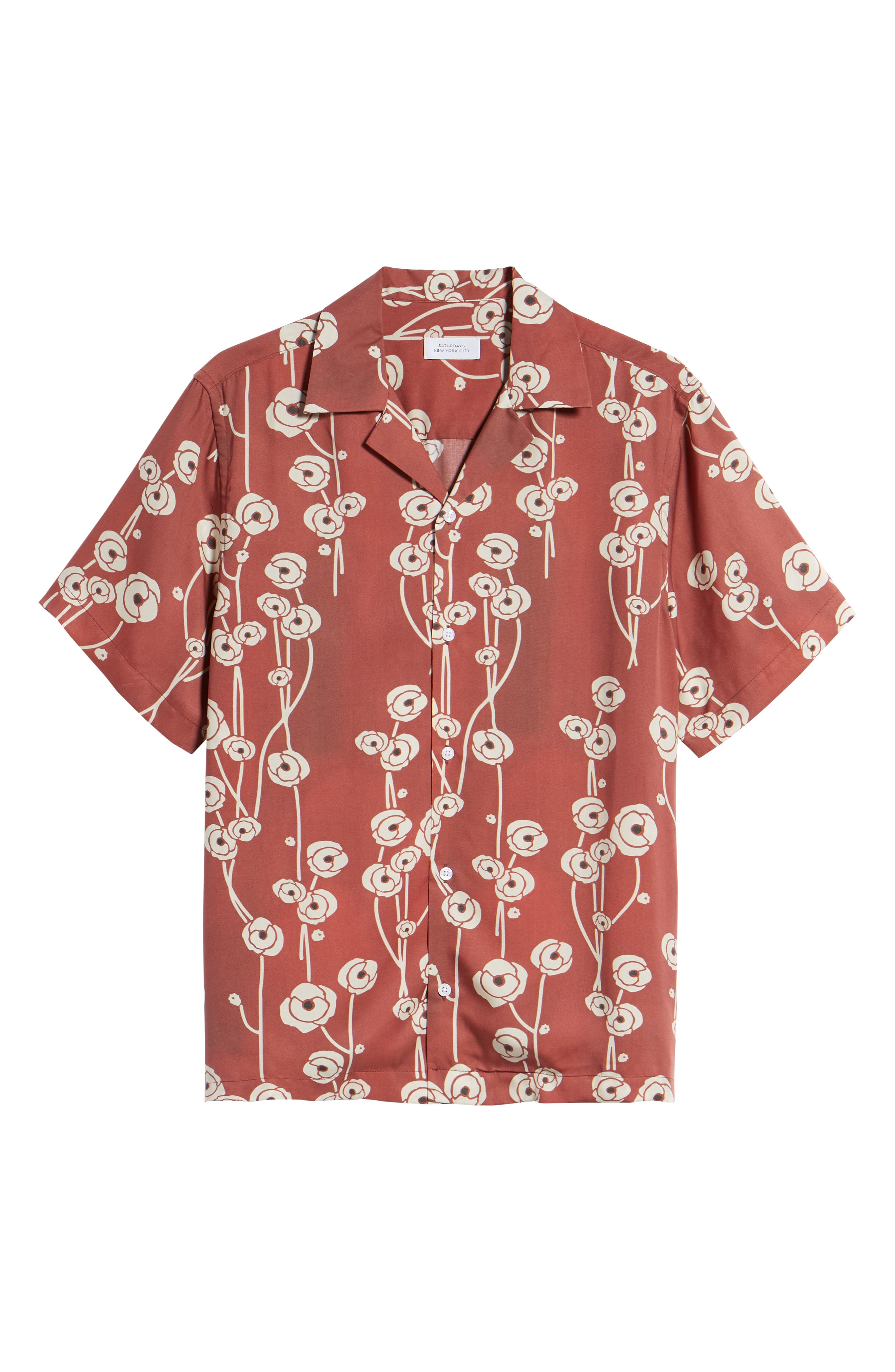 Canty Poppy Woven Shirt,                             Alternate thumbnail 6, color,                             Brick