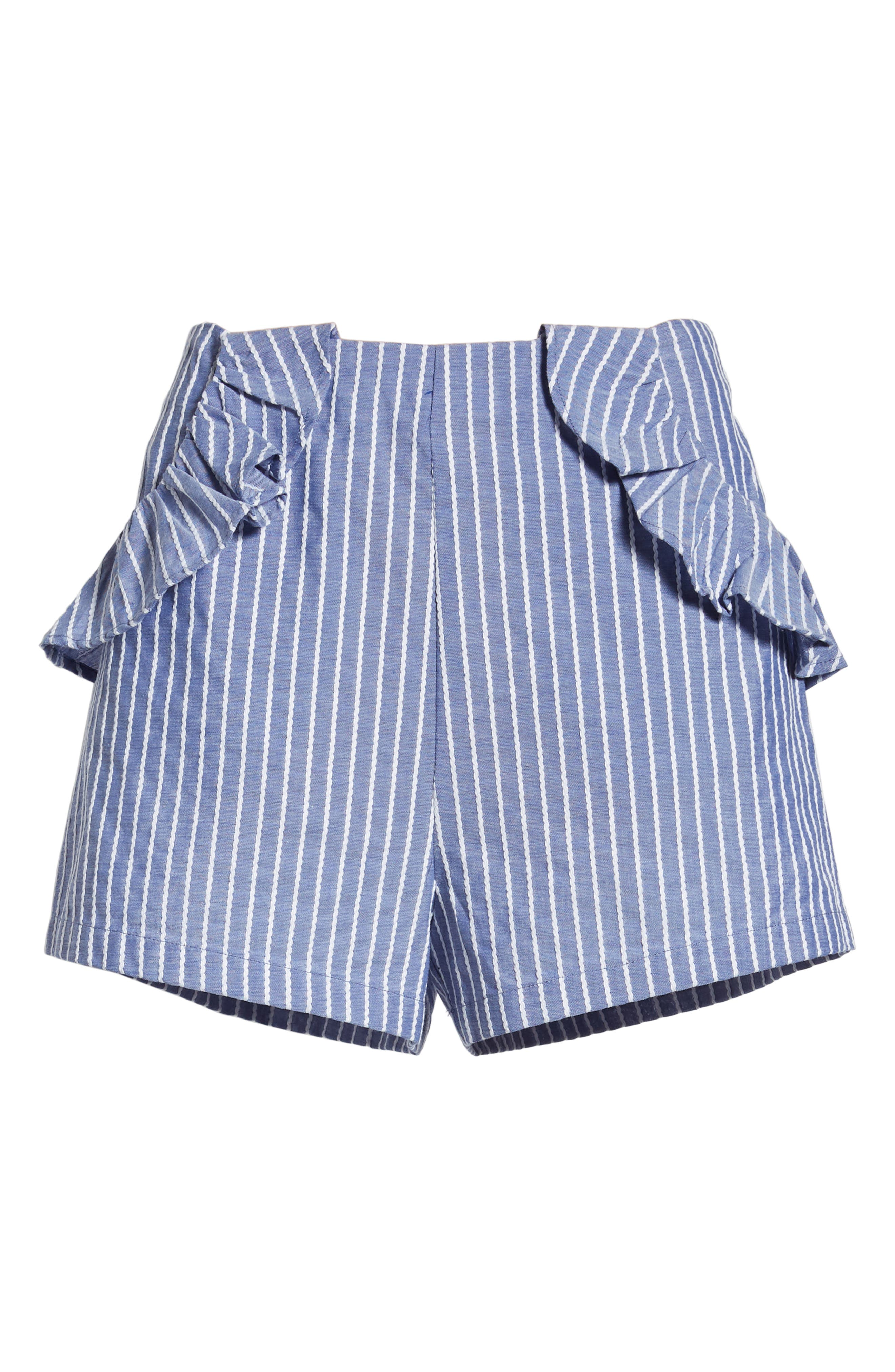 Parcel Ruffle Detail Shorts,                             Alternate thumbnail 8, color,                             Blue With White