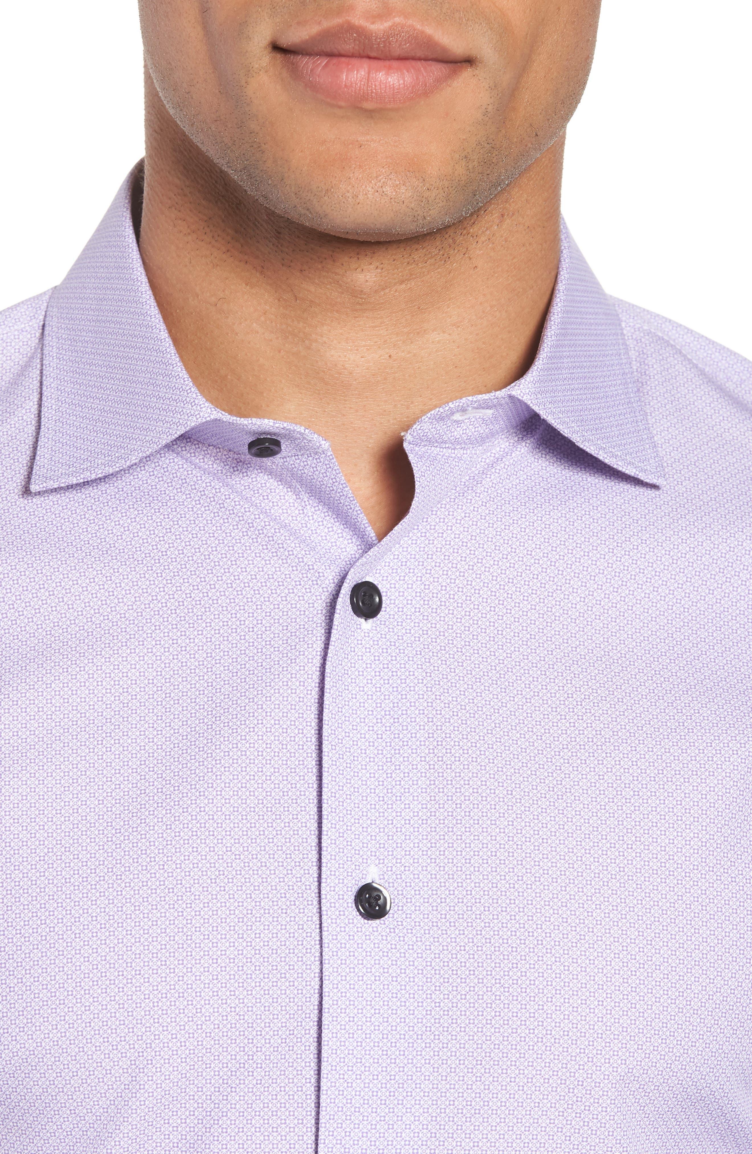 Trim Fit Geometric Dress Shirt,                             Alternate thumbnail 2, color,                             Purple Regal