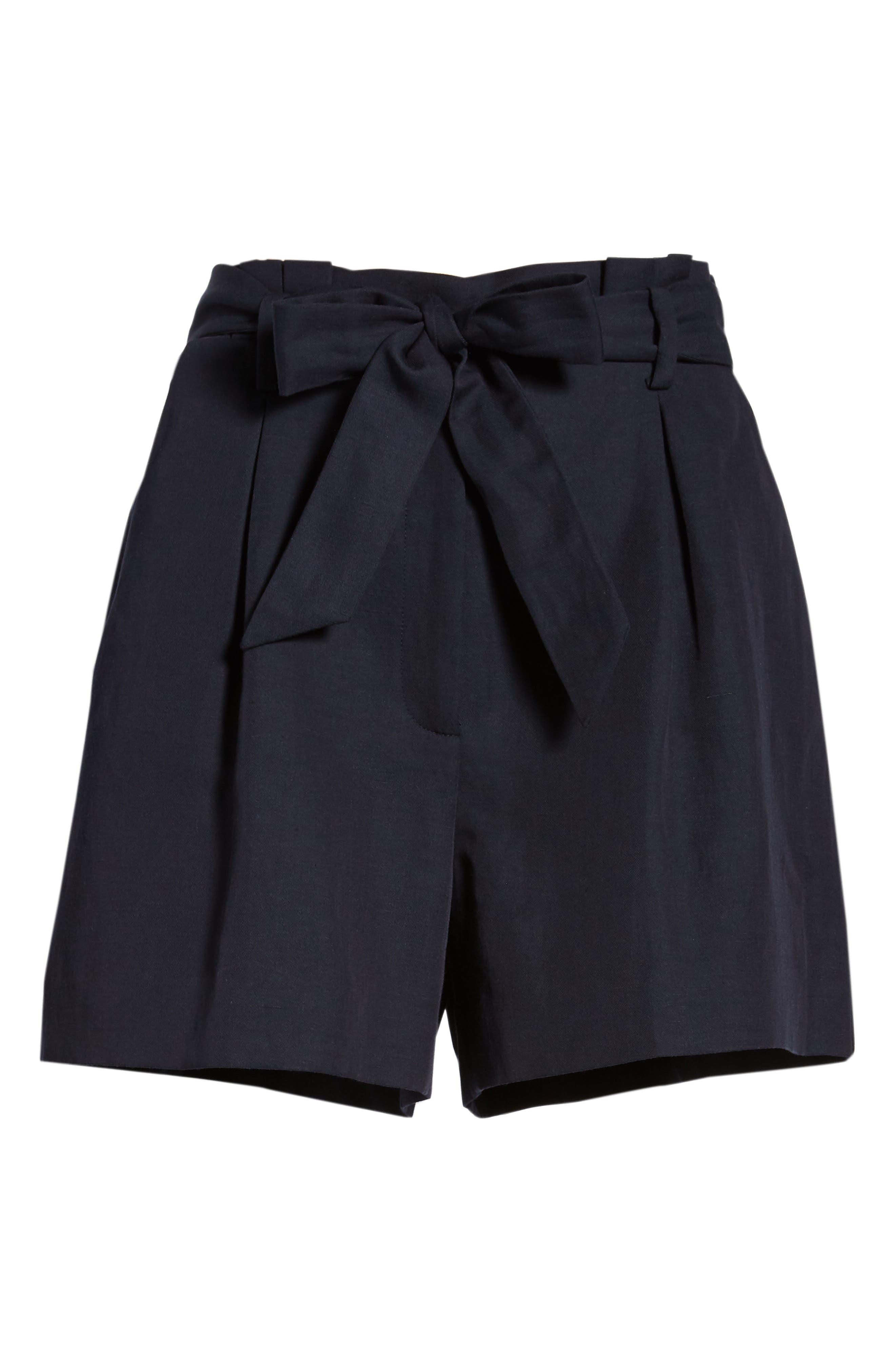 Paperbag Waist Linen & Cotton Blend Shorts,                             Alternate thumbnail 6, color,                             Navy Night