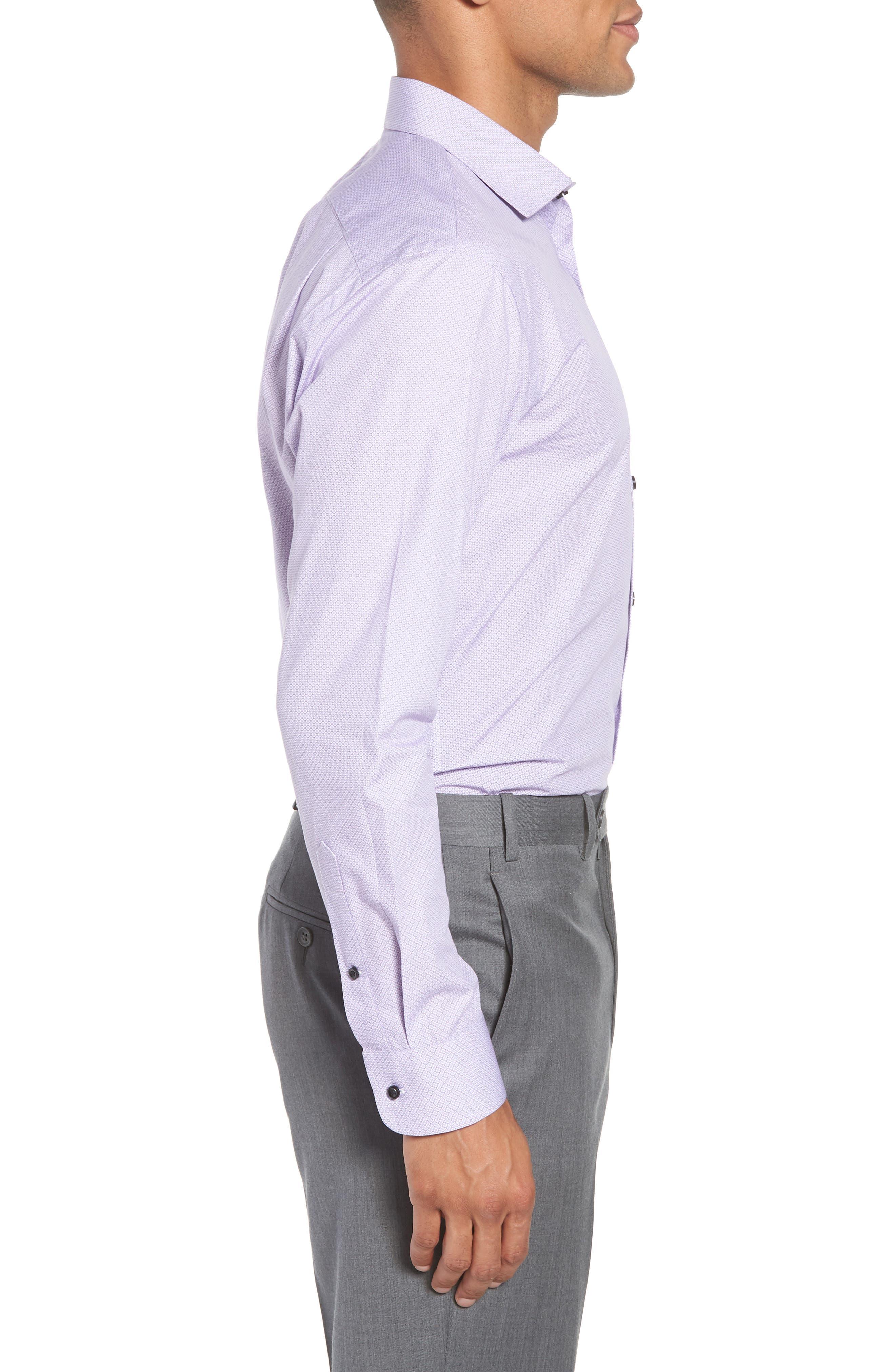 Trim Fit Geometric Dress Shirt,                             Alternate thumbnail 4, color,                             Purple Regal