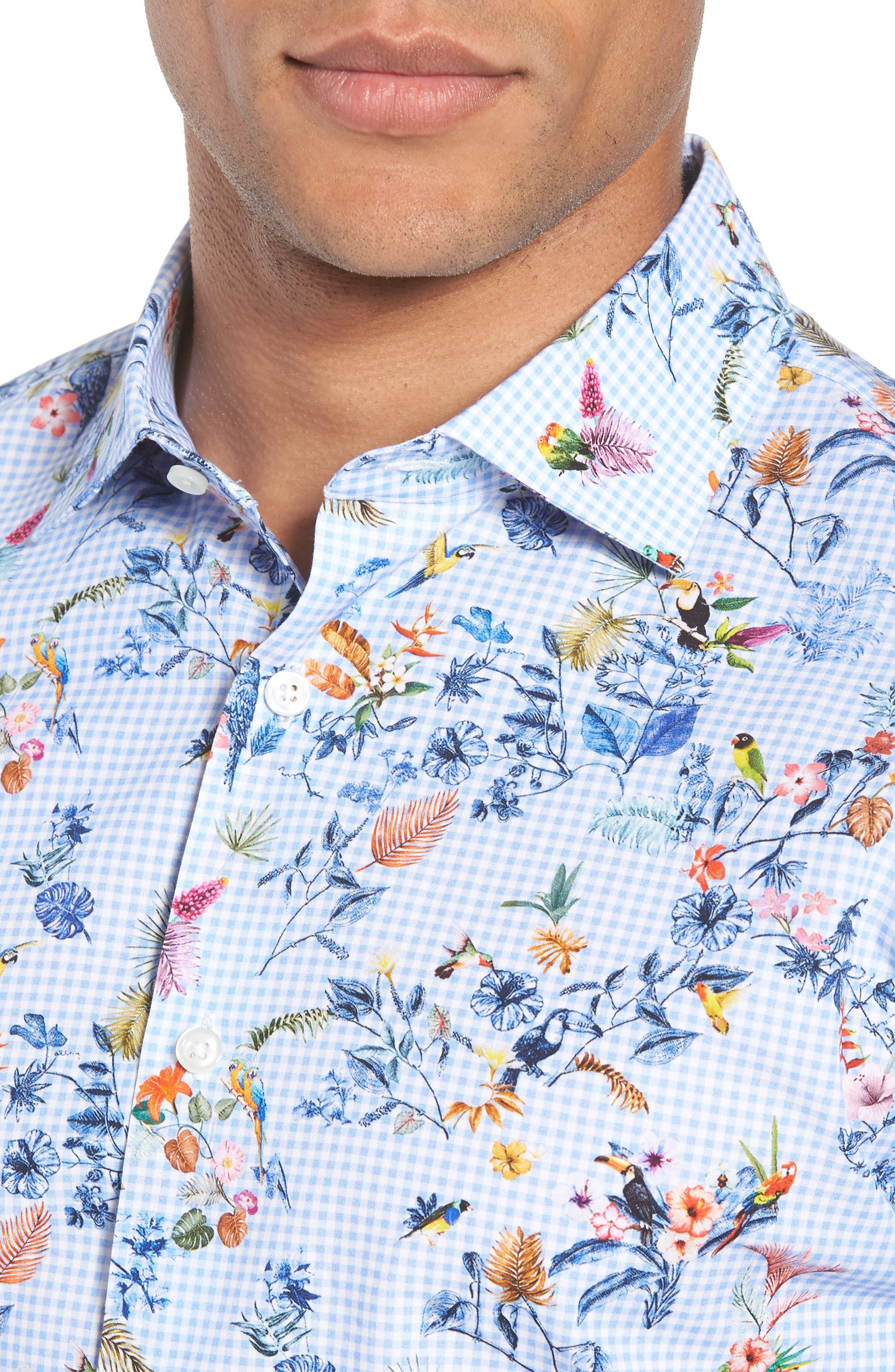 Trim Fit Floral Dress Shirt,                             Alternate thumbnail 2, color,                             Blue Cornflower