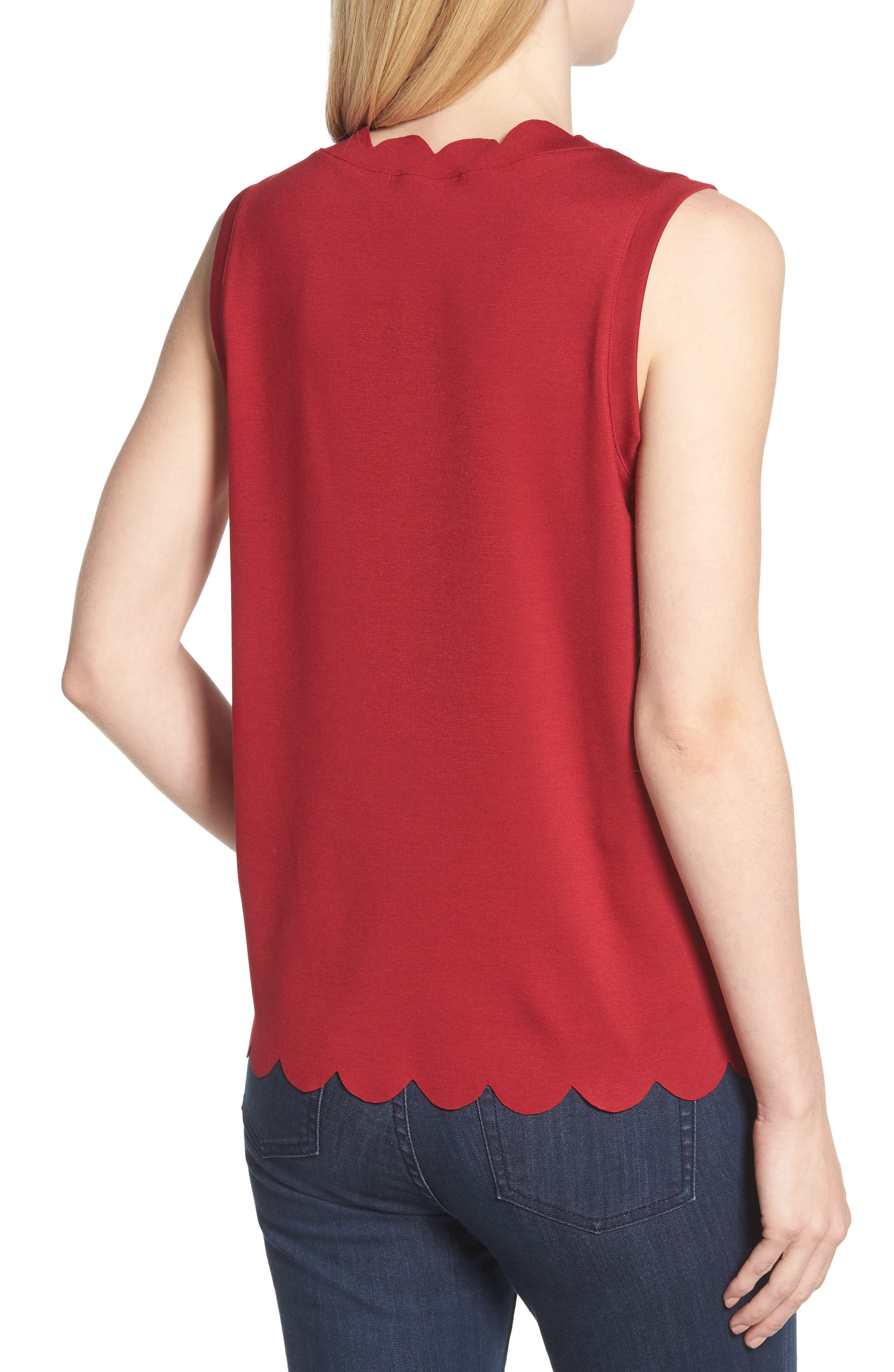 Scallop Edge Sleeveless Top,                             Alternate thumbnail 2, color,                             Red