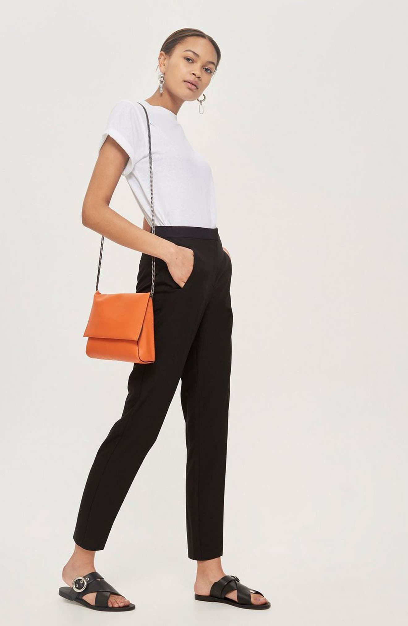 High Waist Cigarette Trousers,                             Alternate thumbnail 2, color,                             Black
