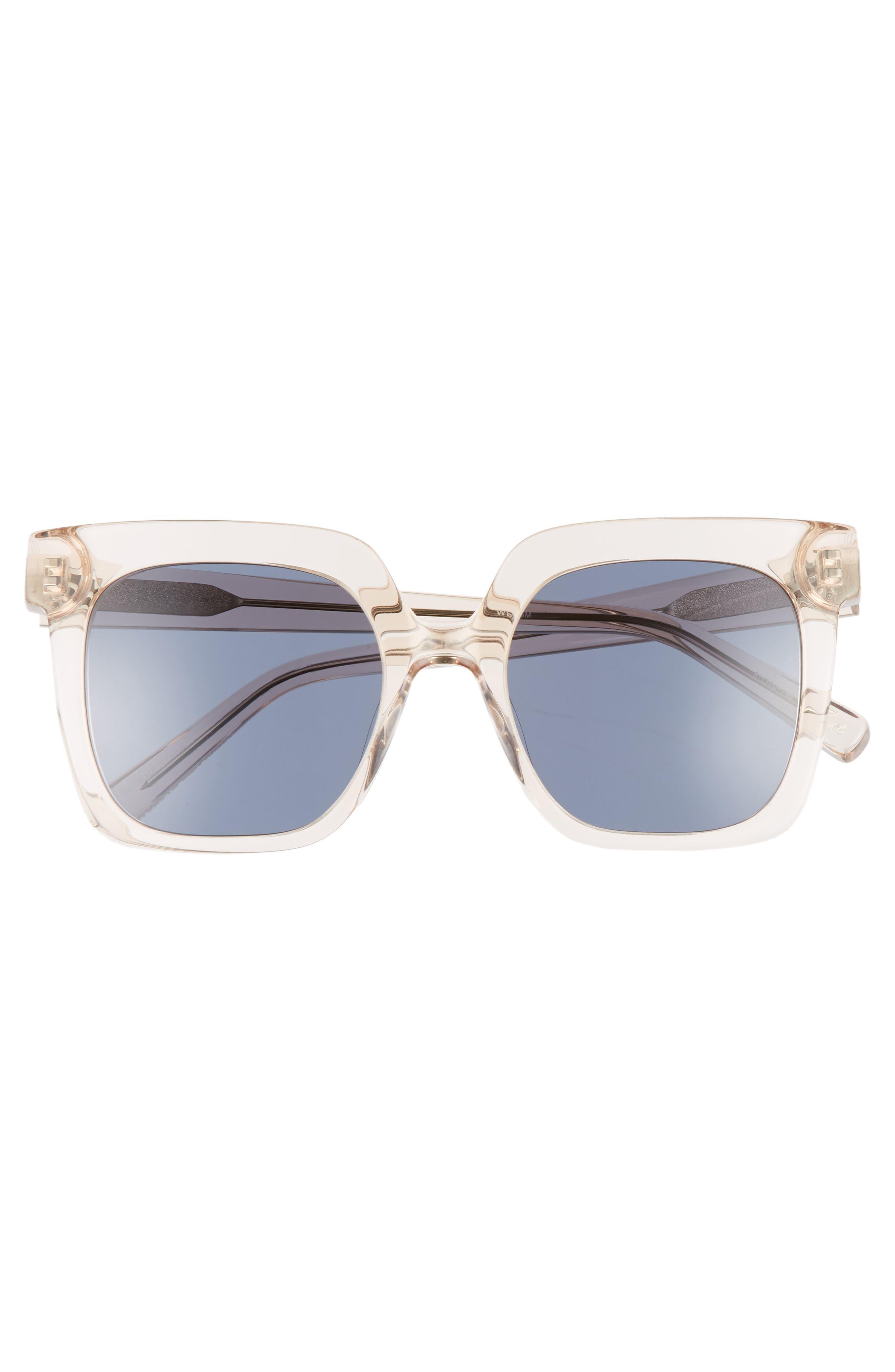 Rae 51mm Square Sunglasses,                             Alternate thumbnail 3, color,                             Crystal Tea