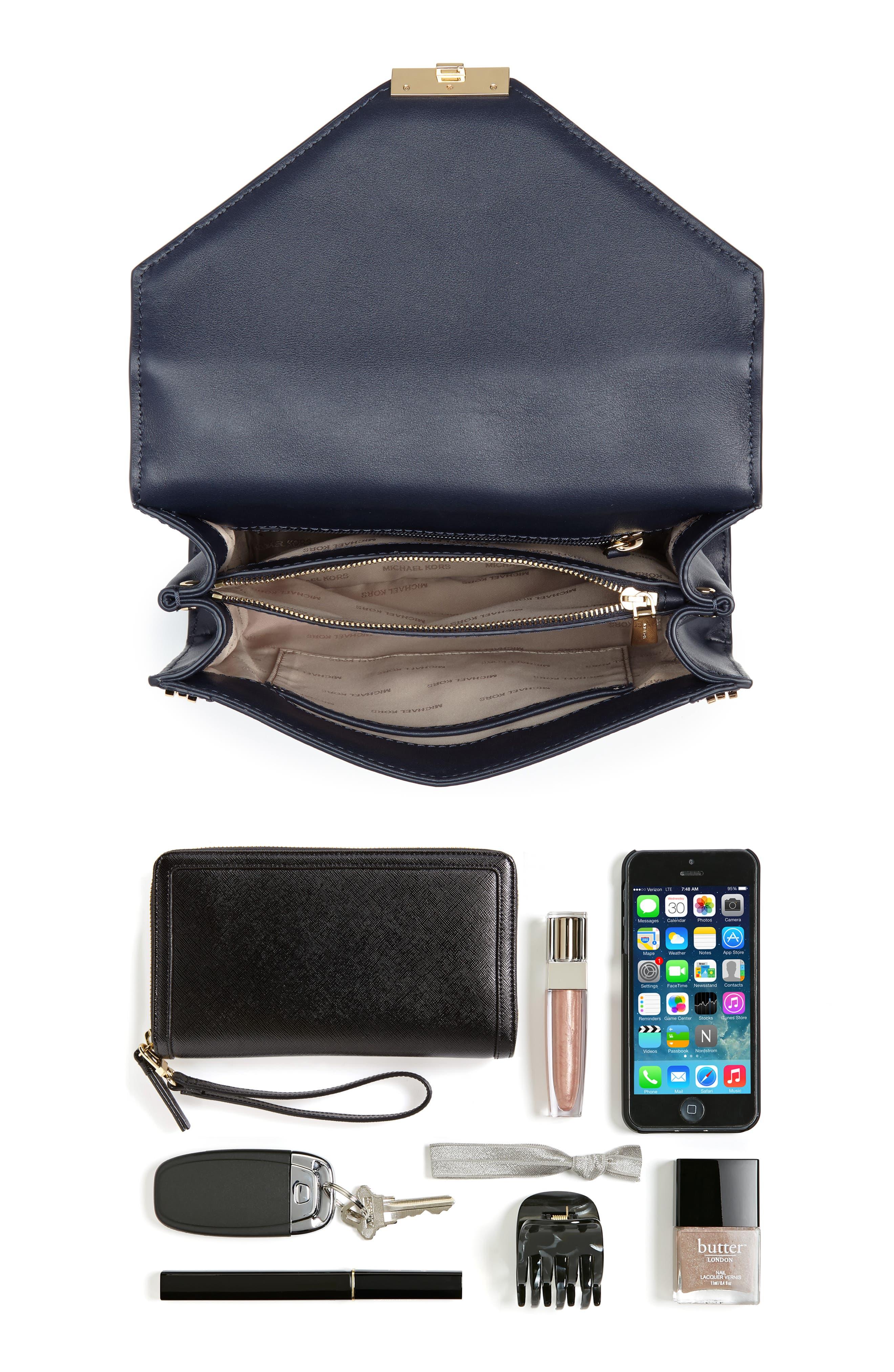 Large Embellished Leather Shoulder Bag,                             Alternate thumbnail 6, color,