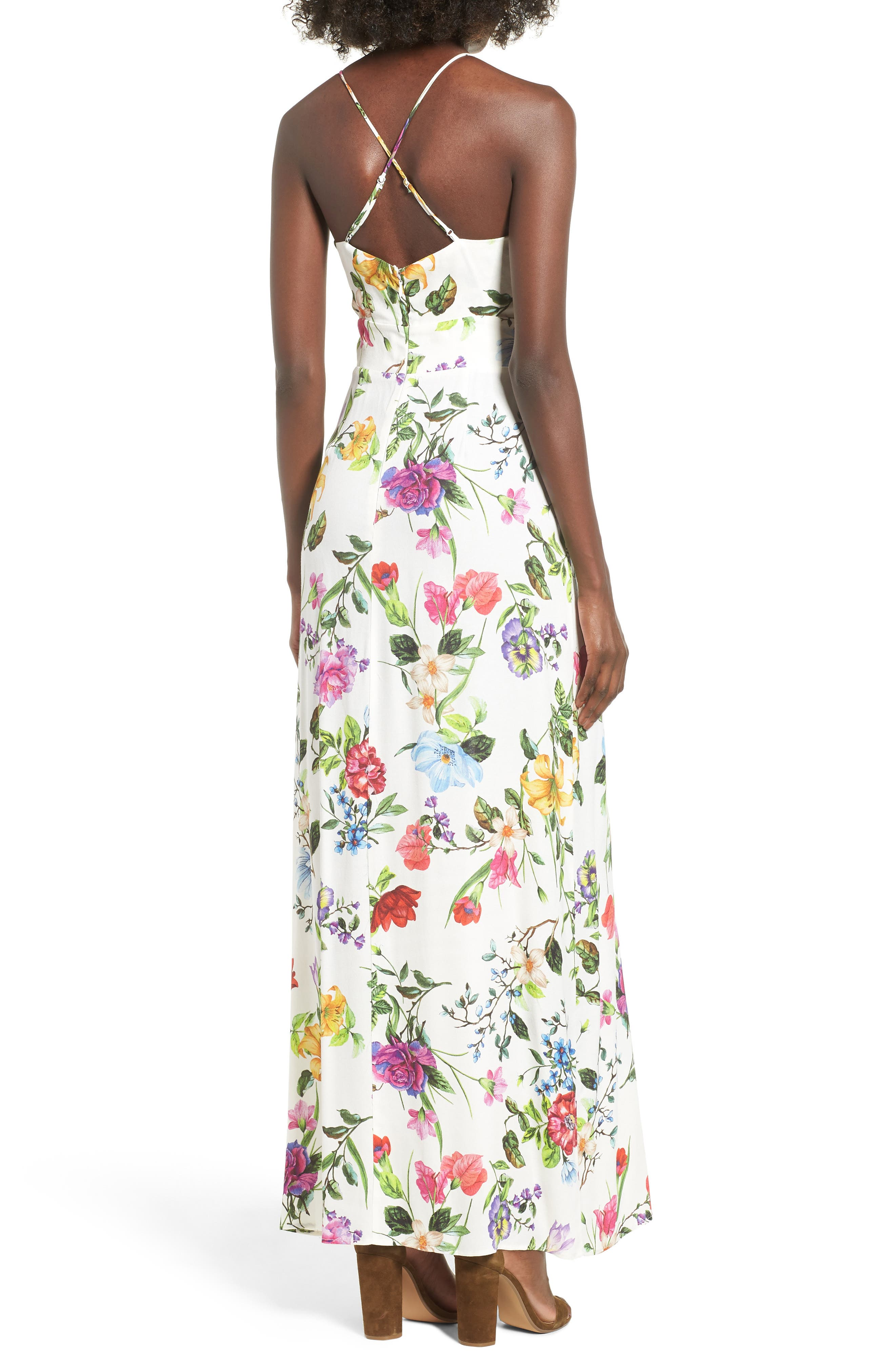 Marie Twisted Knot Front Maxi Dress,                             Alternate thumbnail 2, color,                             Multi Floral