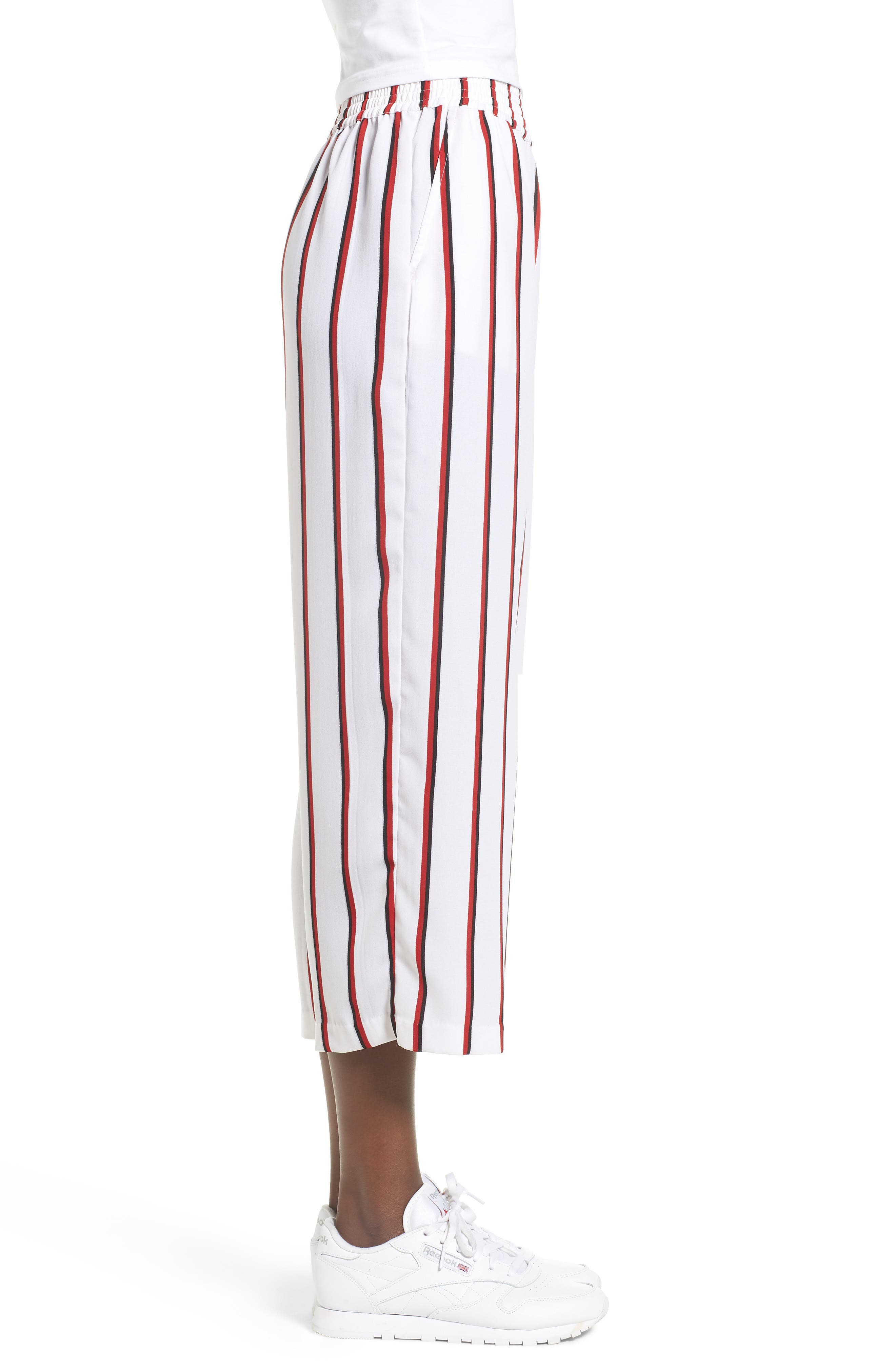 Counting Moons Stripe Culottes,                             Alternate thumbnail 3, color,                             Chili Red
