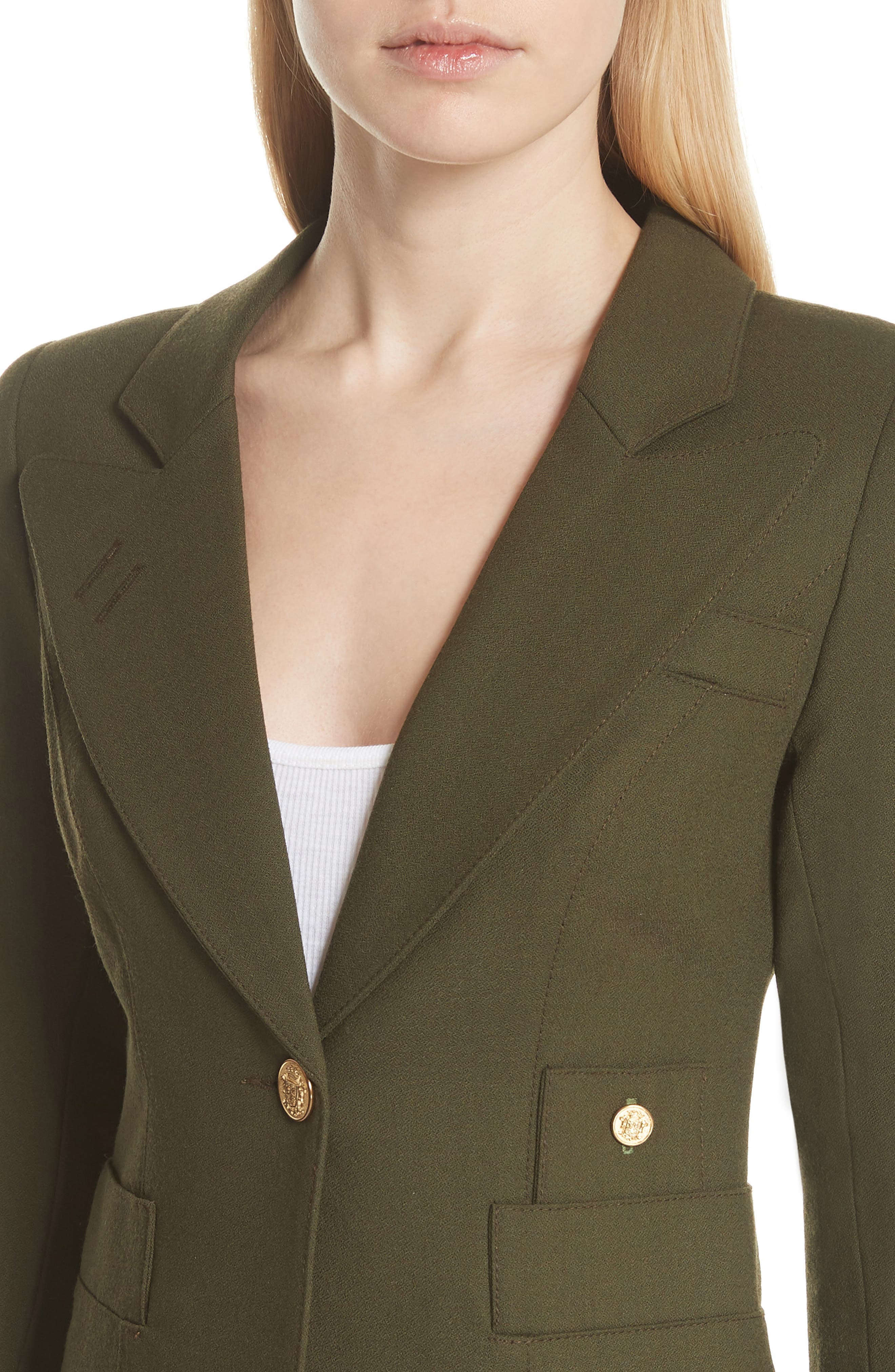 Classic Duchess Blazer,                             Alternate thumbnail 4, color,                             Army