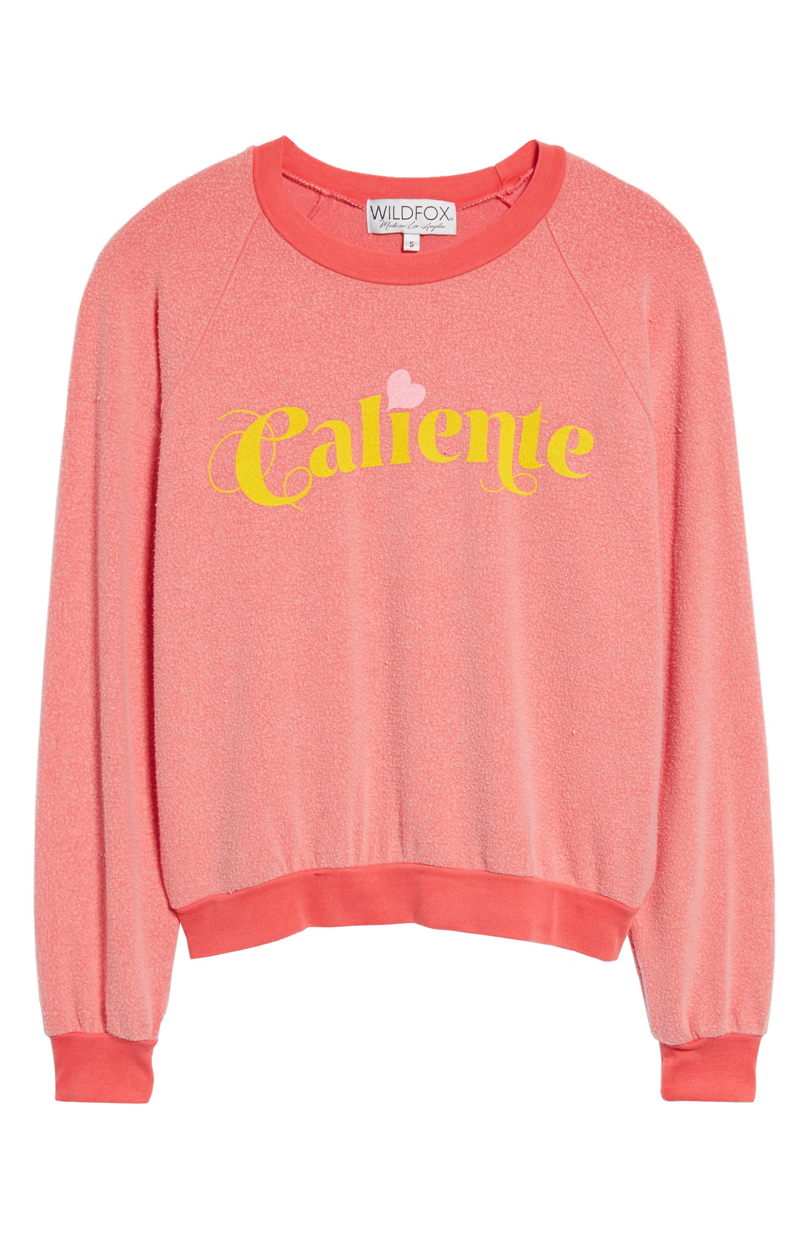 Caliente Junior Sweatshirt,                             Alternate thumbnail 6, color,                             Pigment Hot Lipstick