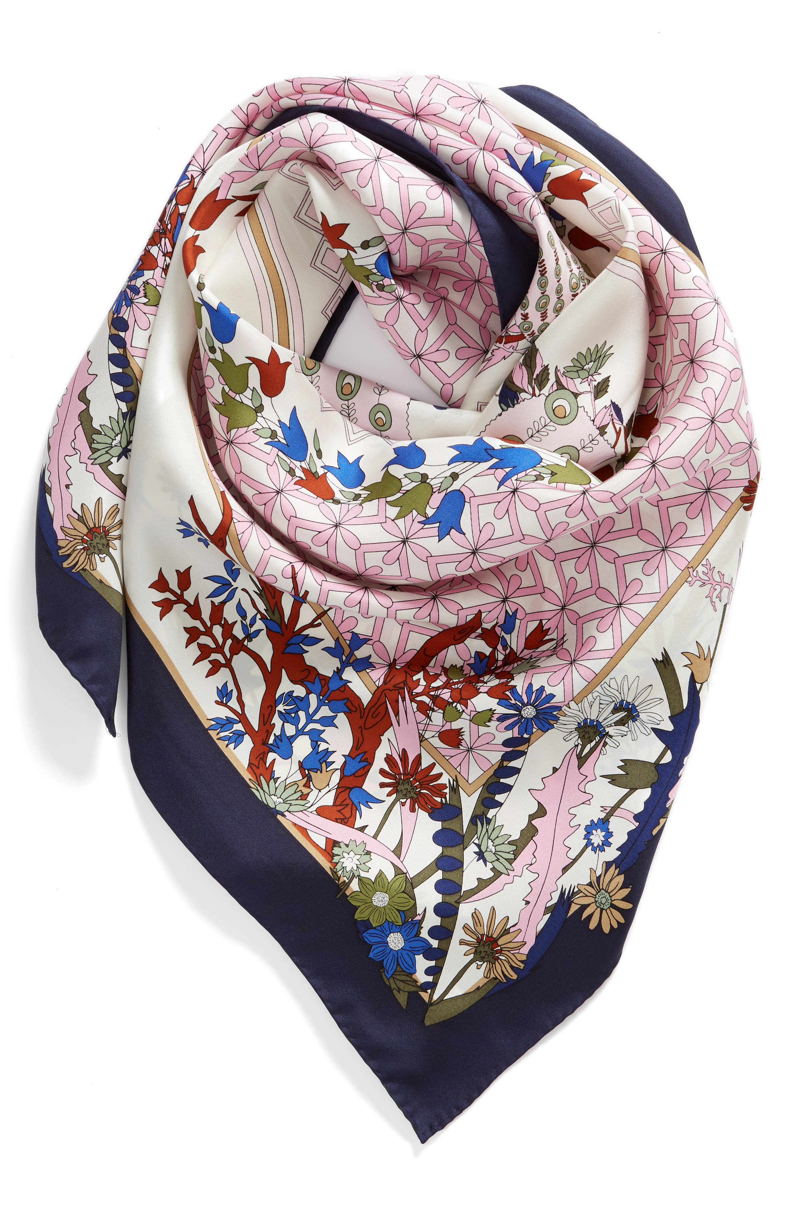 Meadow Folly Silk Square Scarf,                             Alternate thumbnail 2, color,                             Pink Meadow Folly