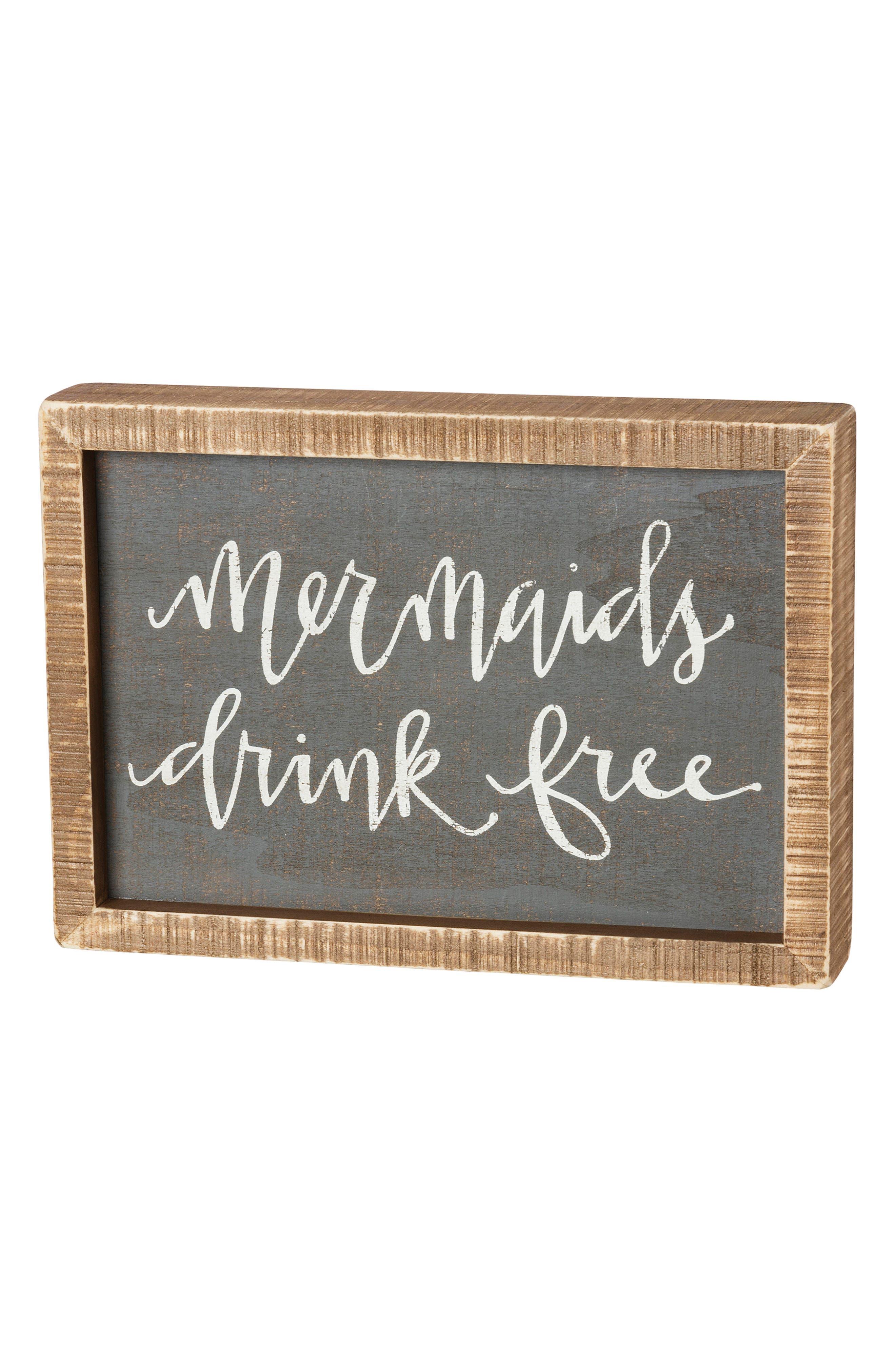 Mermaids Drink Free Inset Box Sign,                             Main thumbnail 1, color,                             Grey