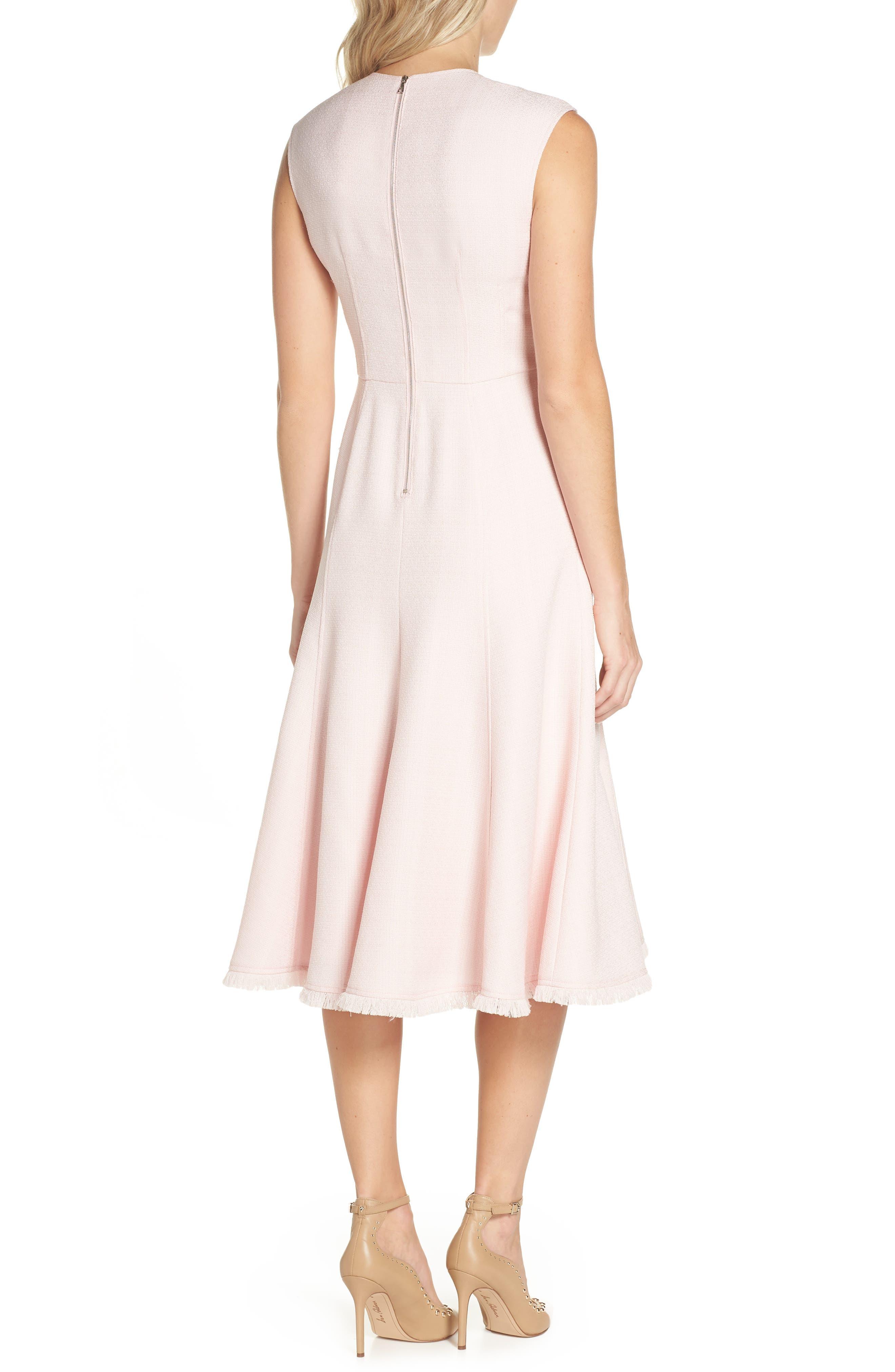 Fringe Hem A-Line Dress,                             Alternate thumbnail 2, color,                             Blush