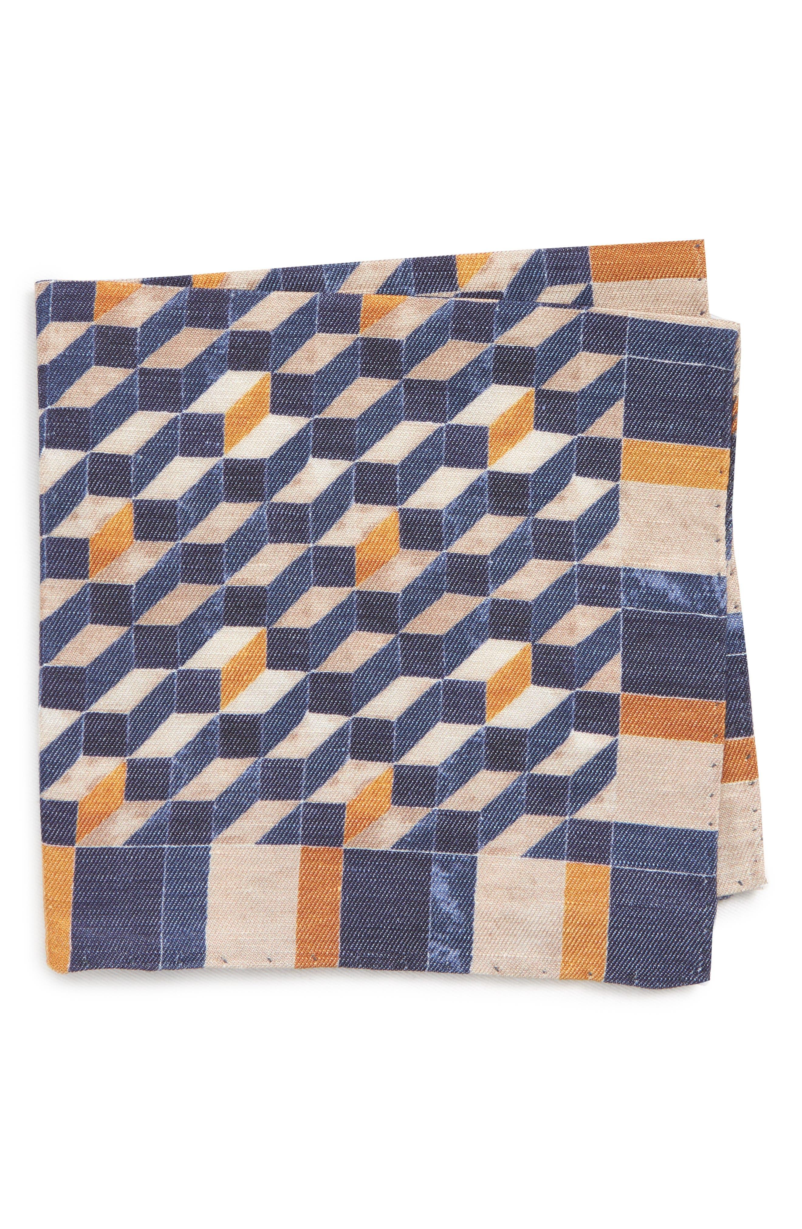 Geometric Silk Pocket Square,                             Main thumbnail 1, color,                             Navy