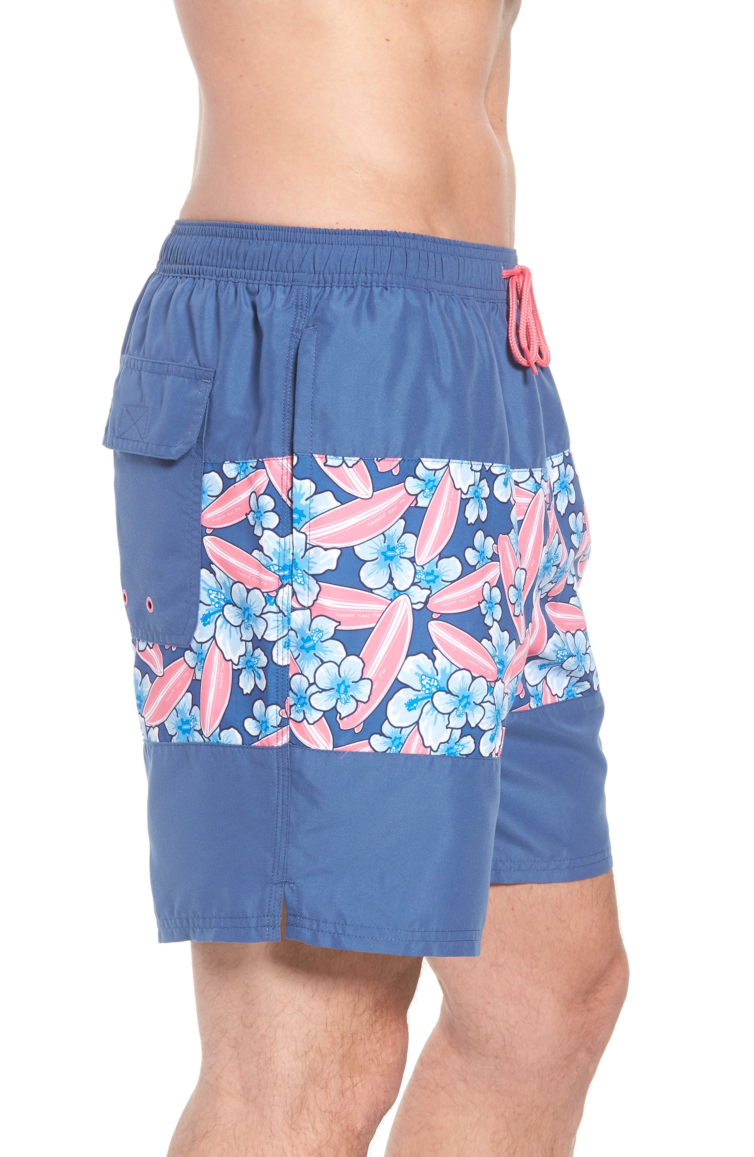 Chappy Pieced Surfboard Swim Trunks,                             Alternate thumbnail 3, color,                             Moonshine