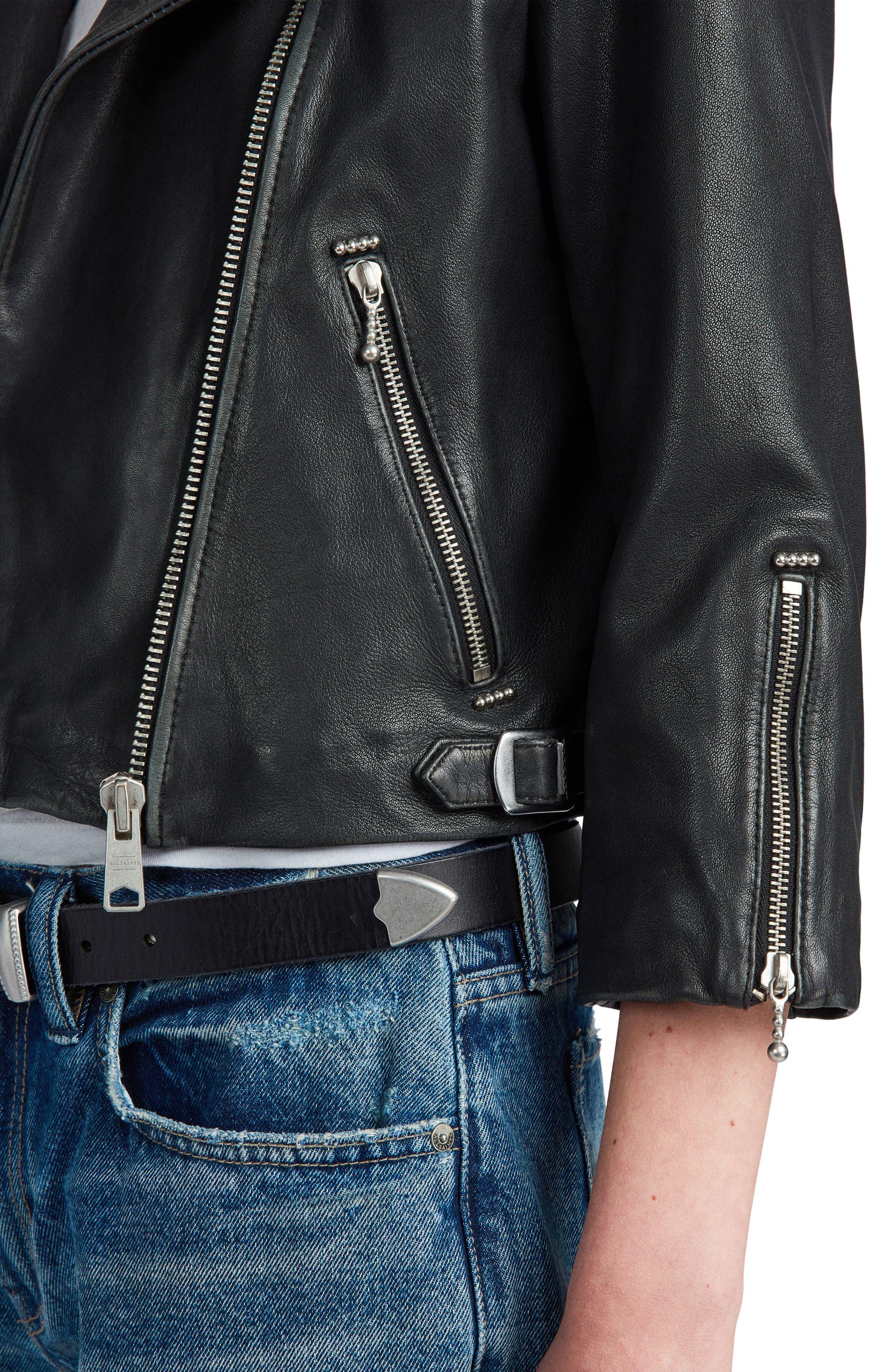 Lara Sheepskin Leather Biker Jacket,                             Alternate thumbnail 3, color,                             Black