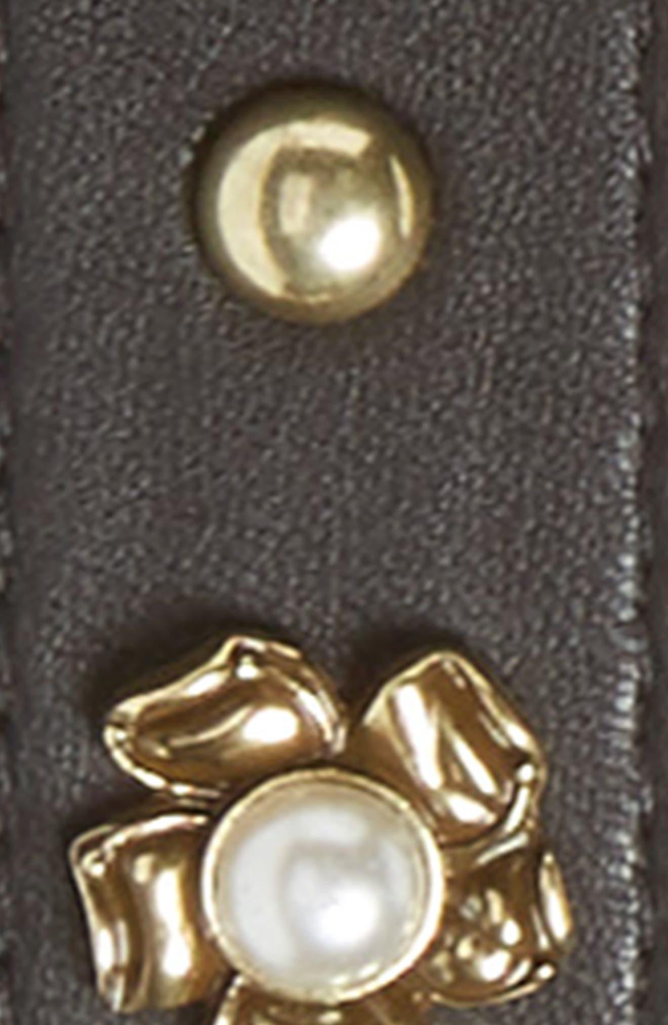 Imitation Pearl Buckle Faux Leather Belt,                             Alternate thumbnail 3, color,                             Black