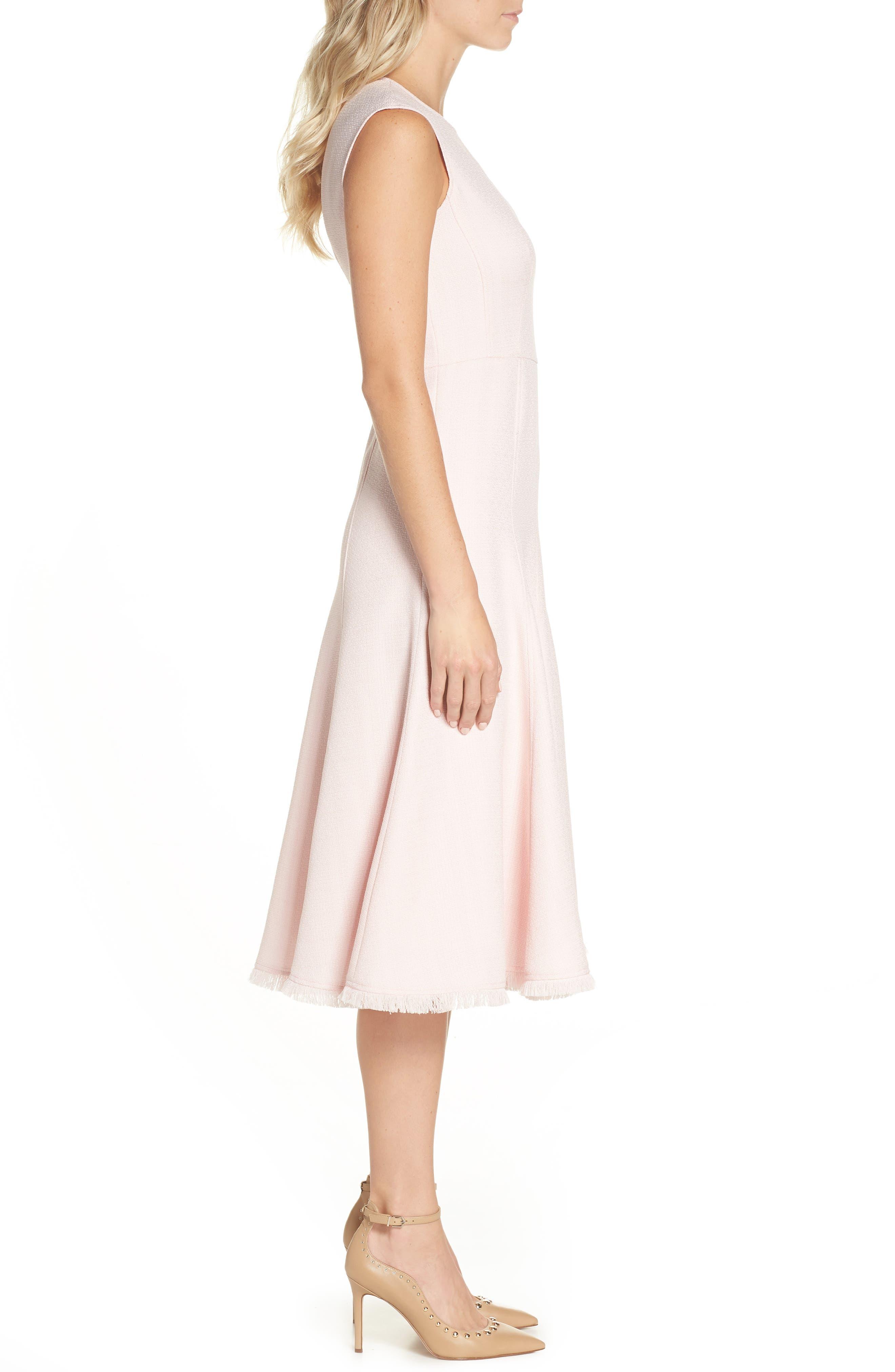 Fringe Hem A-Line Dress,                             Alternate thumbnail 3, color,                             Blush