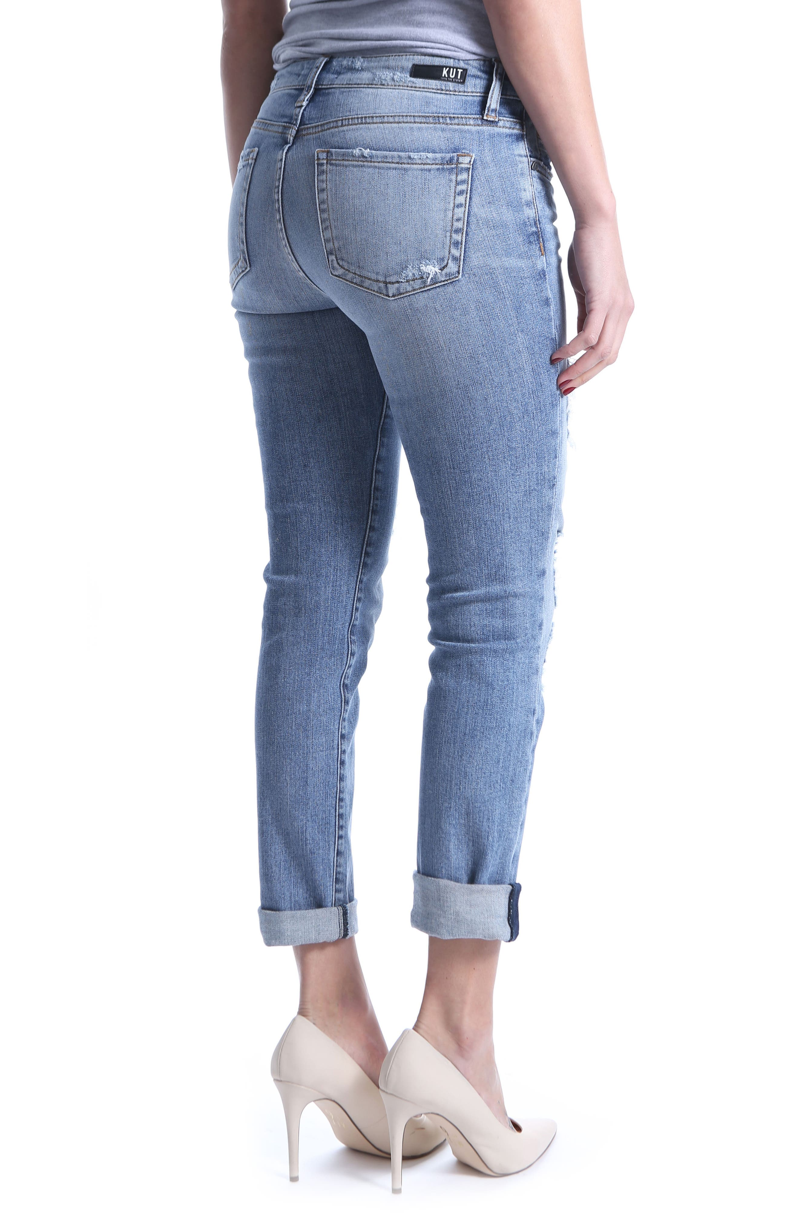 KUT from the Kloth Catherine Ripped Boyfriend Jeans,                             Alternate thumbnail 2, color,                             Attract