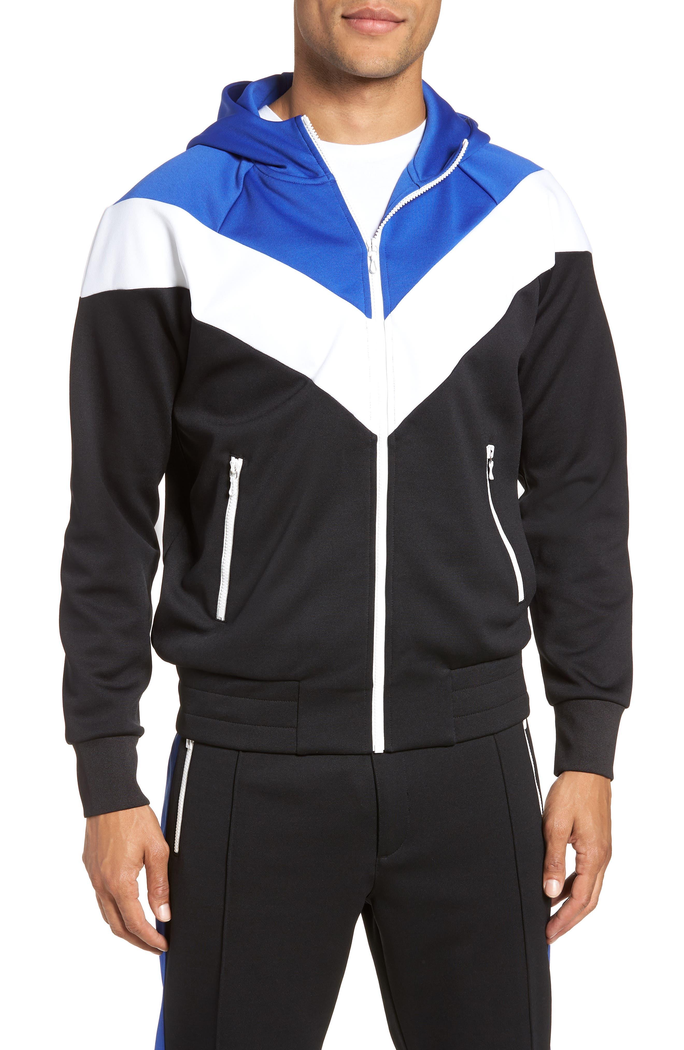 Colorblock Full Zip Hoodie,                         Main,                         color, Blue/ White/ Black