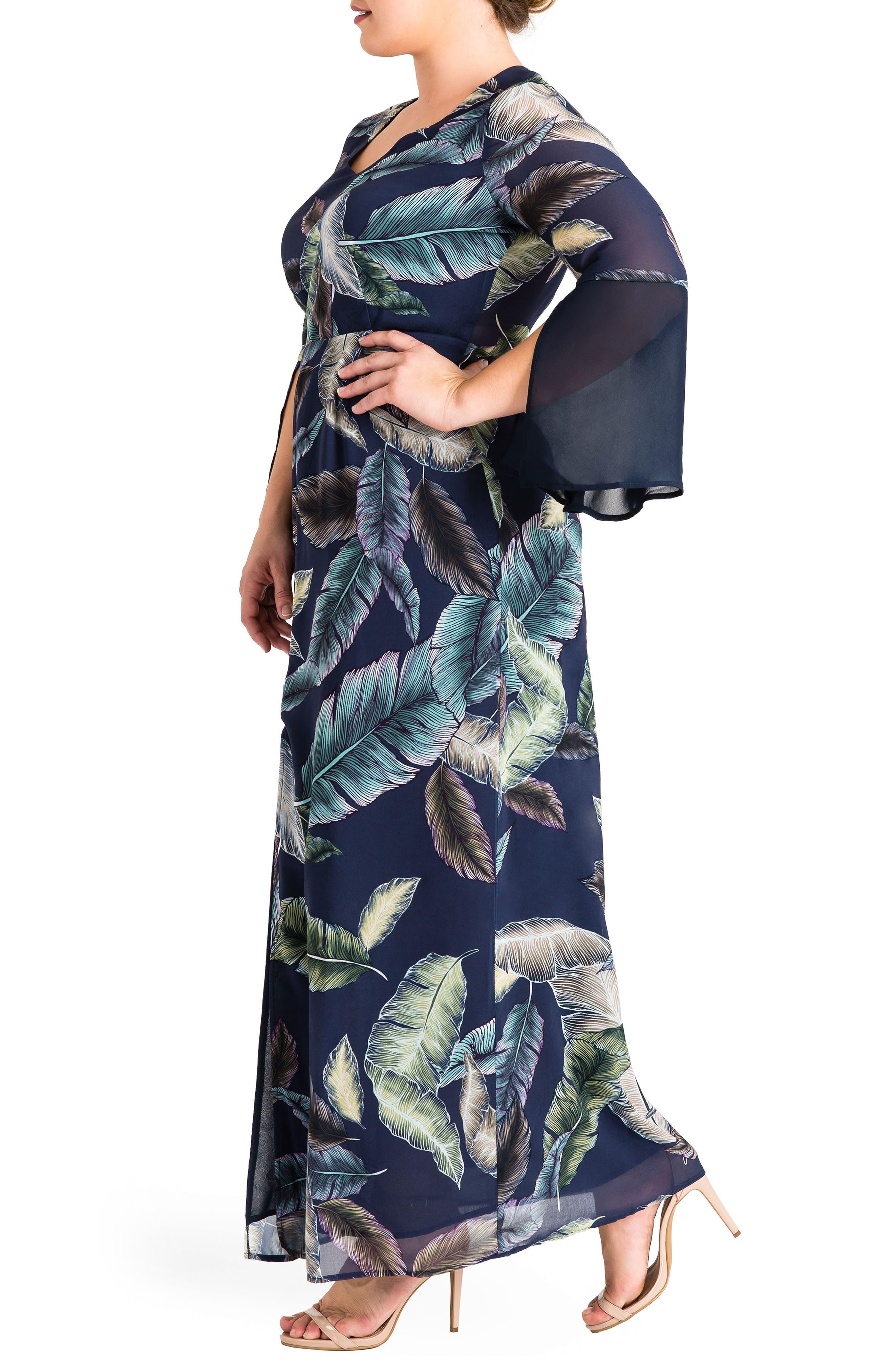 Norah Maxi Dress,                             Alternate thumbnail 3, color,                             Leaf Print