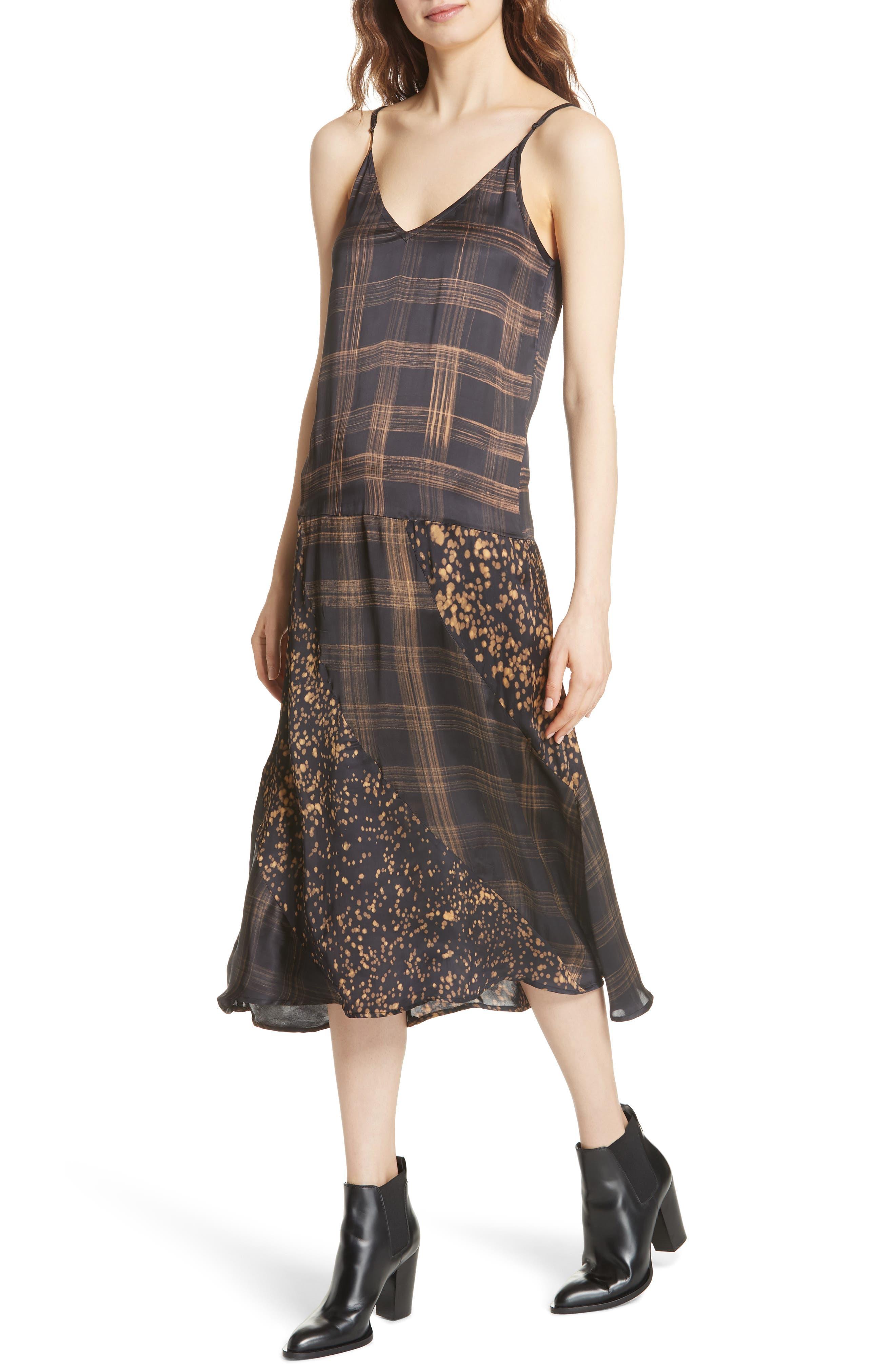 Gambetta Printed Midi Dress,                             Alternate thumbnail 4, color,                             Black Mix